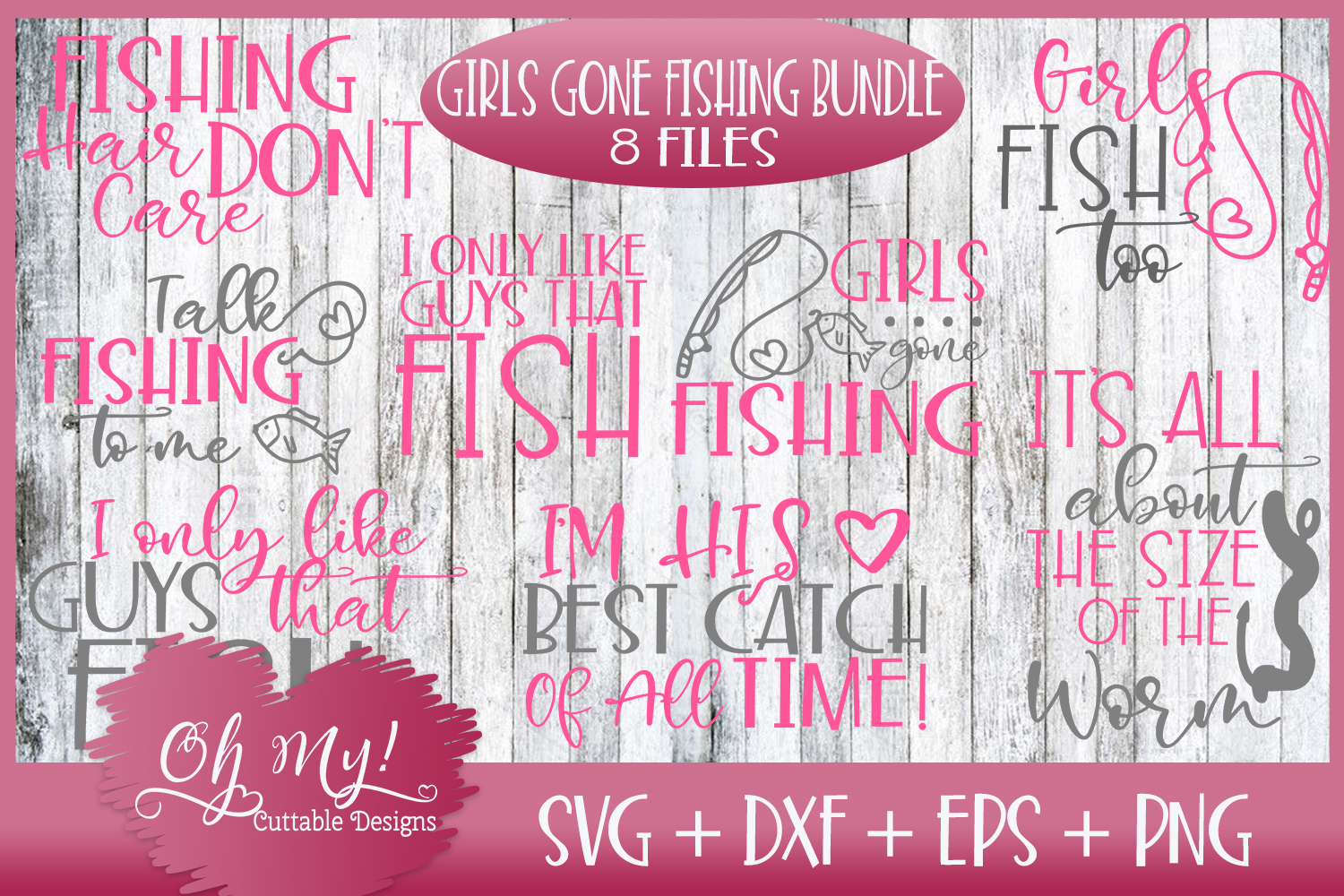OH MY! HUGE FISHING BUNDLE DESIGNS SVG DXF EPS PNG example image 4