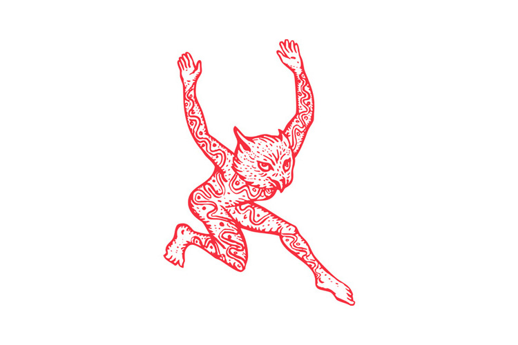 Half Man Half Owl With Tattoos Dancing example image 1