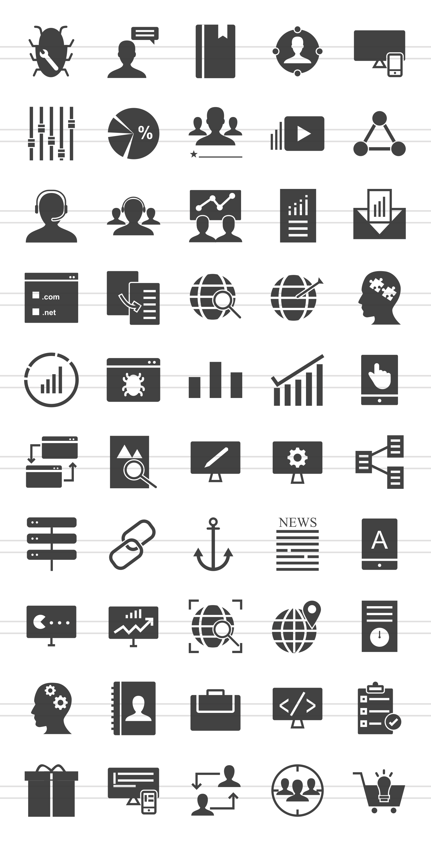 50 SEO & Development Glyph Icons example image 2