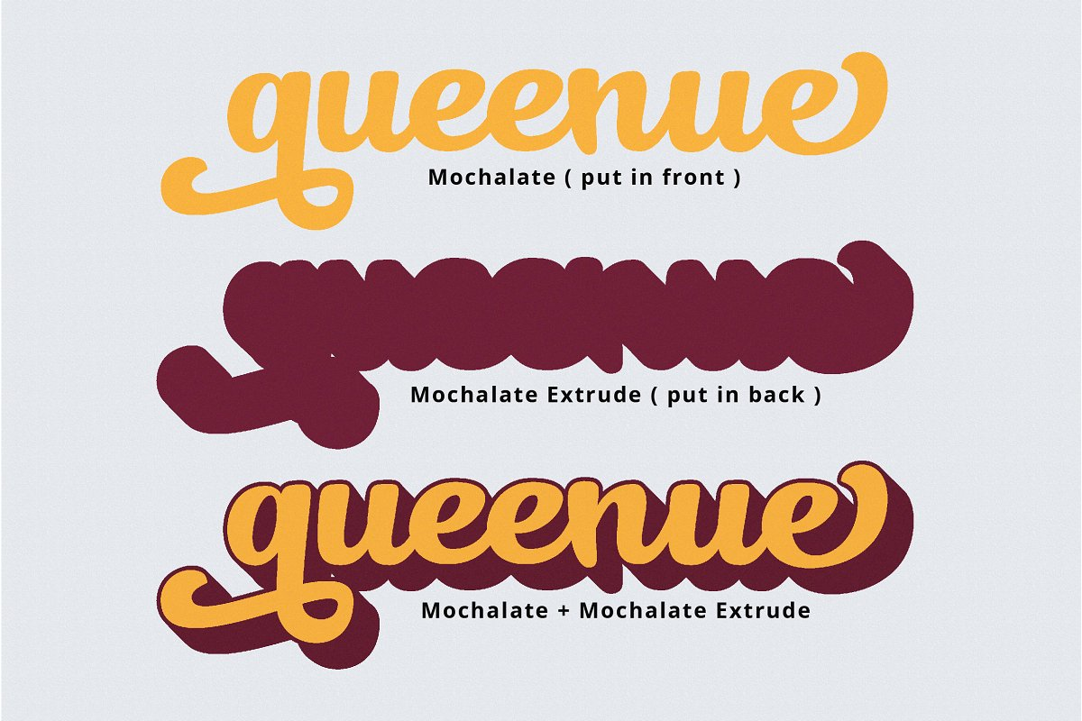 Mochalate script with its extrude font example image 8