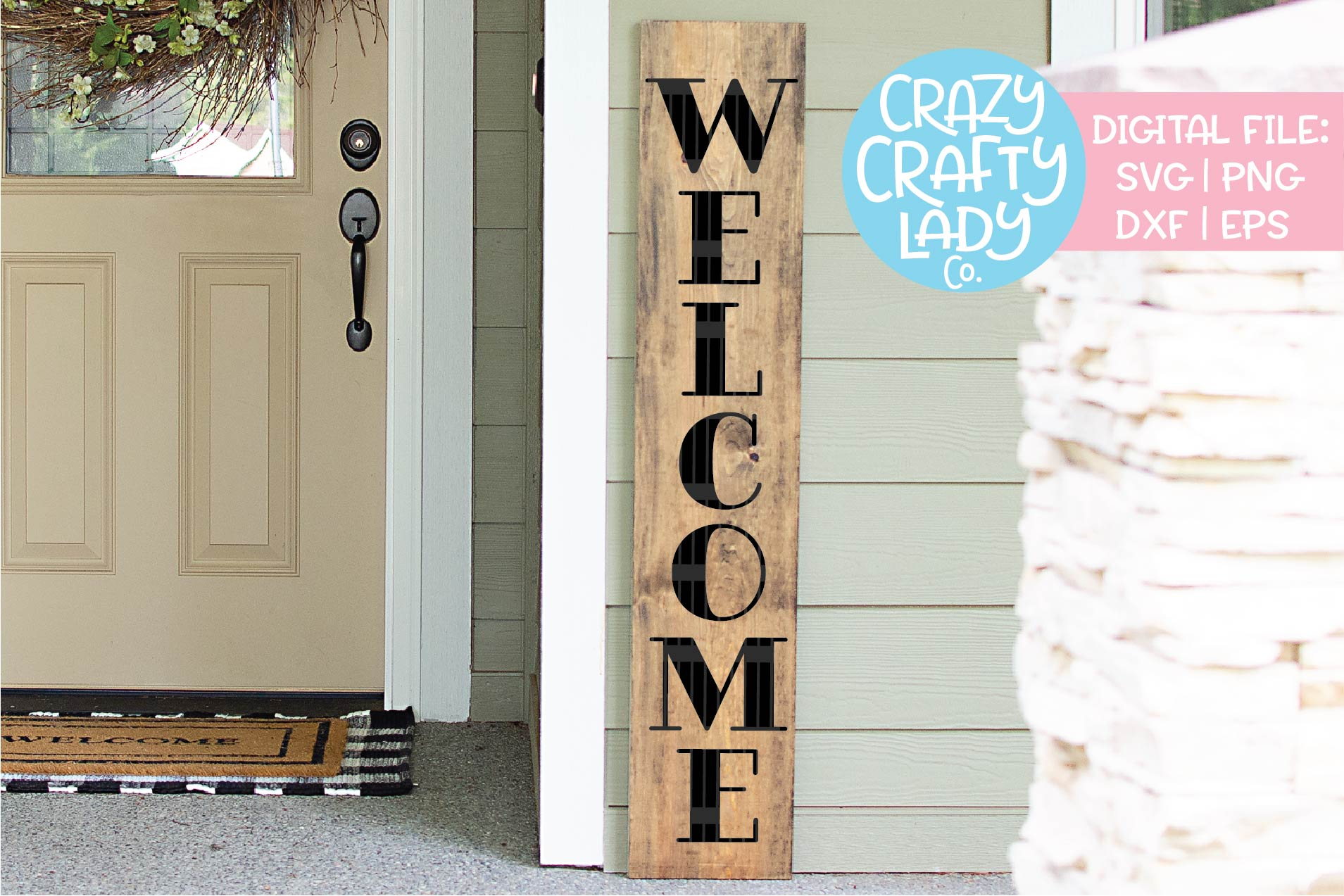 Welcome Porch Sign SVG DXF EPS PNG Cut File Bundle example image 8