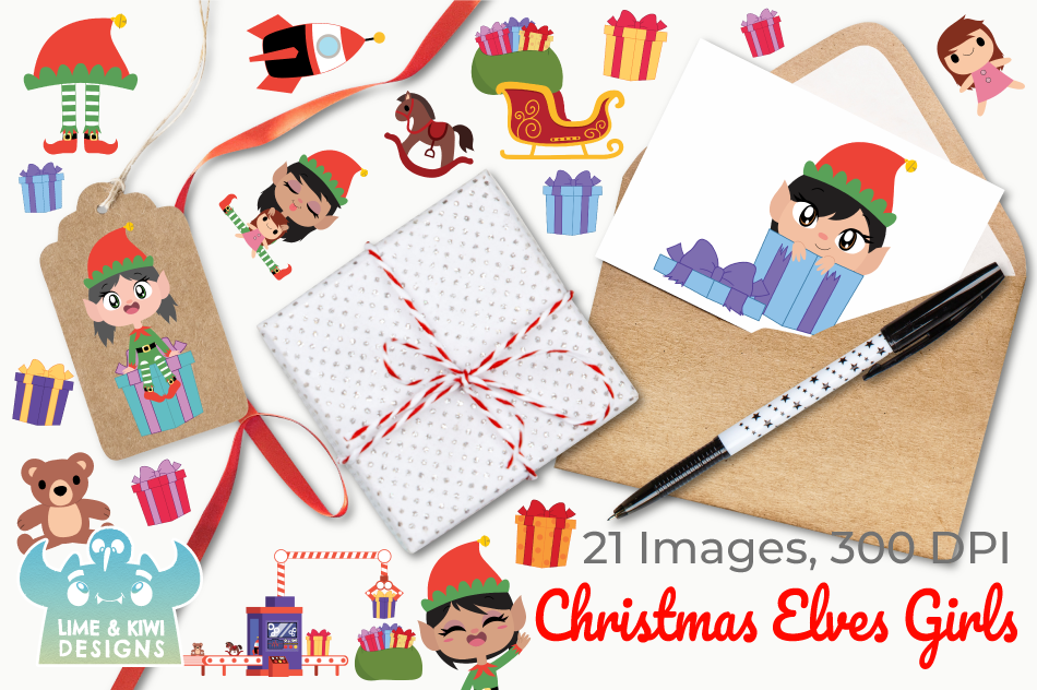 Christmas Elves Girls Clipart, Instant Download Vector Art example image 4