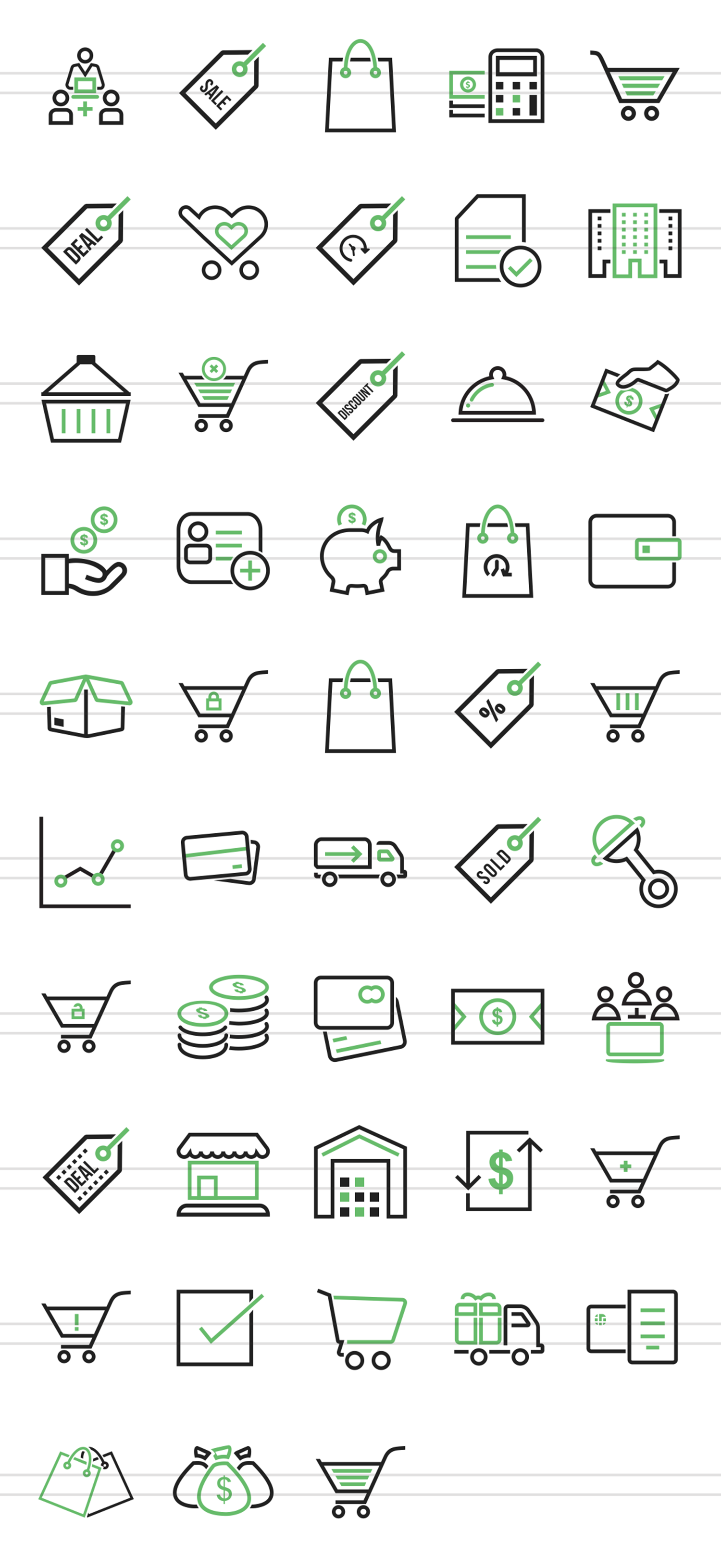 48 Ecommerce Line Green & Black Icons example image 2