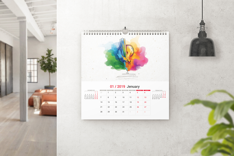 Square Wall Calendar Mockups example image 1