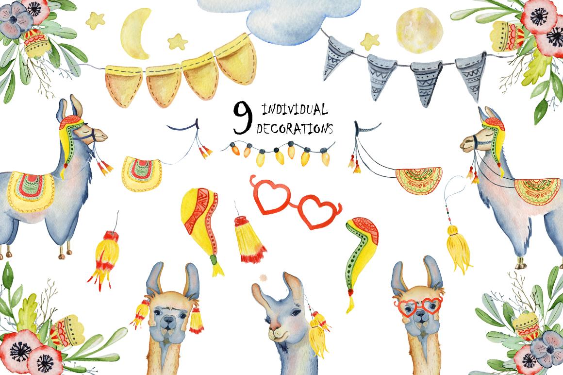 Cute llamas. Watercolor animals clipart example image 2