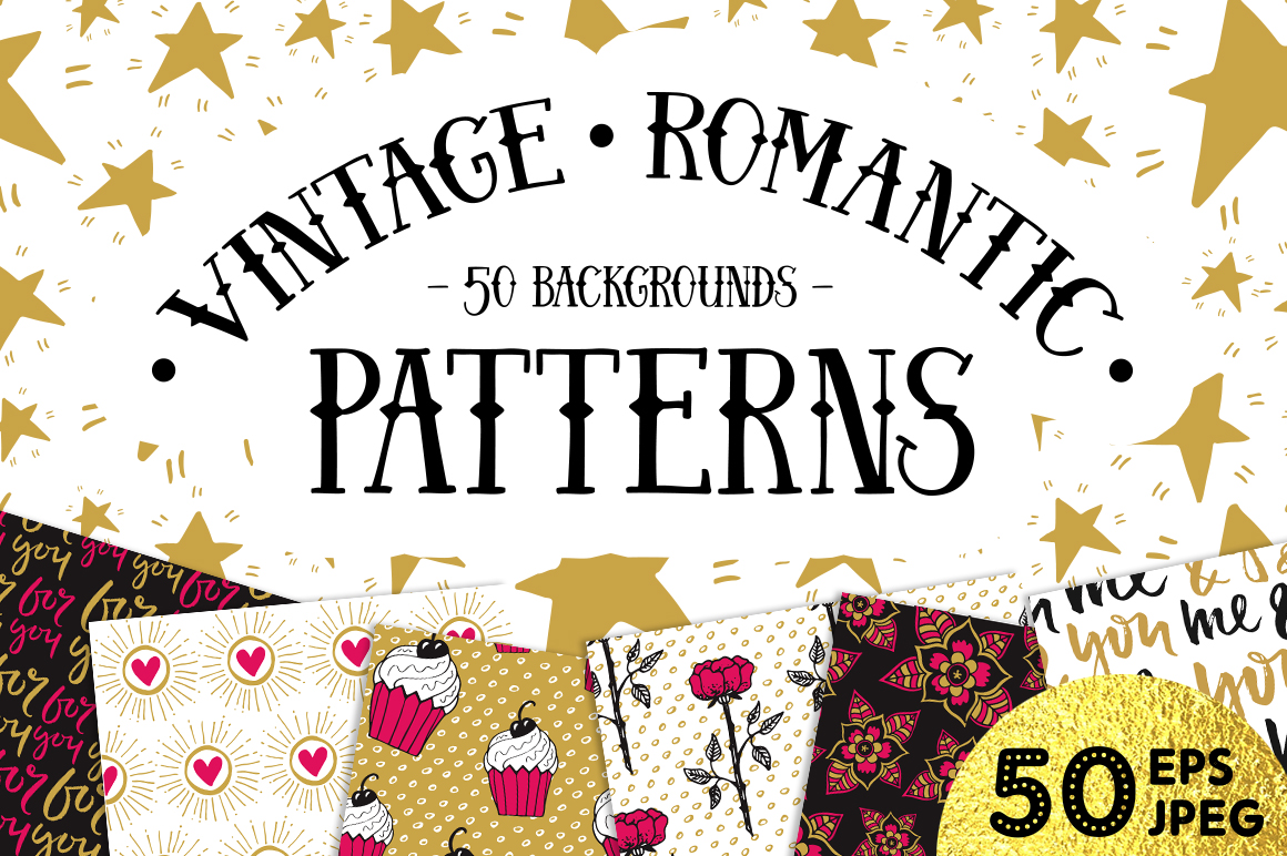50 Valentine's Day Seamless Patterns example image 1