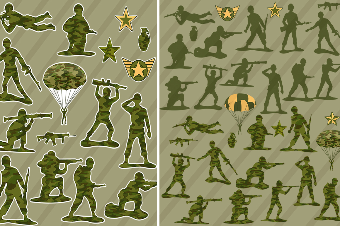 Little Green Army Men Clip Art example image 3