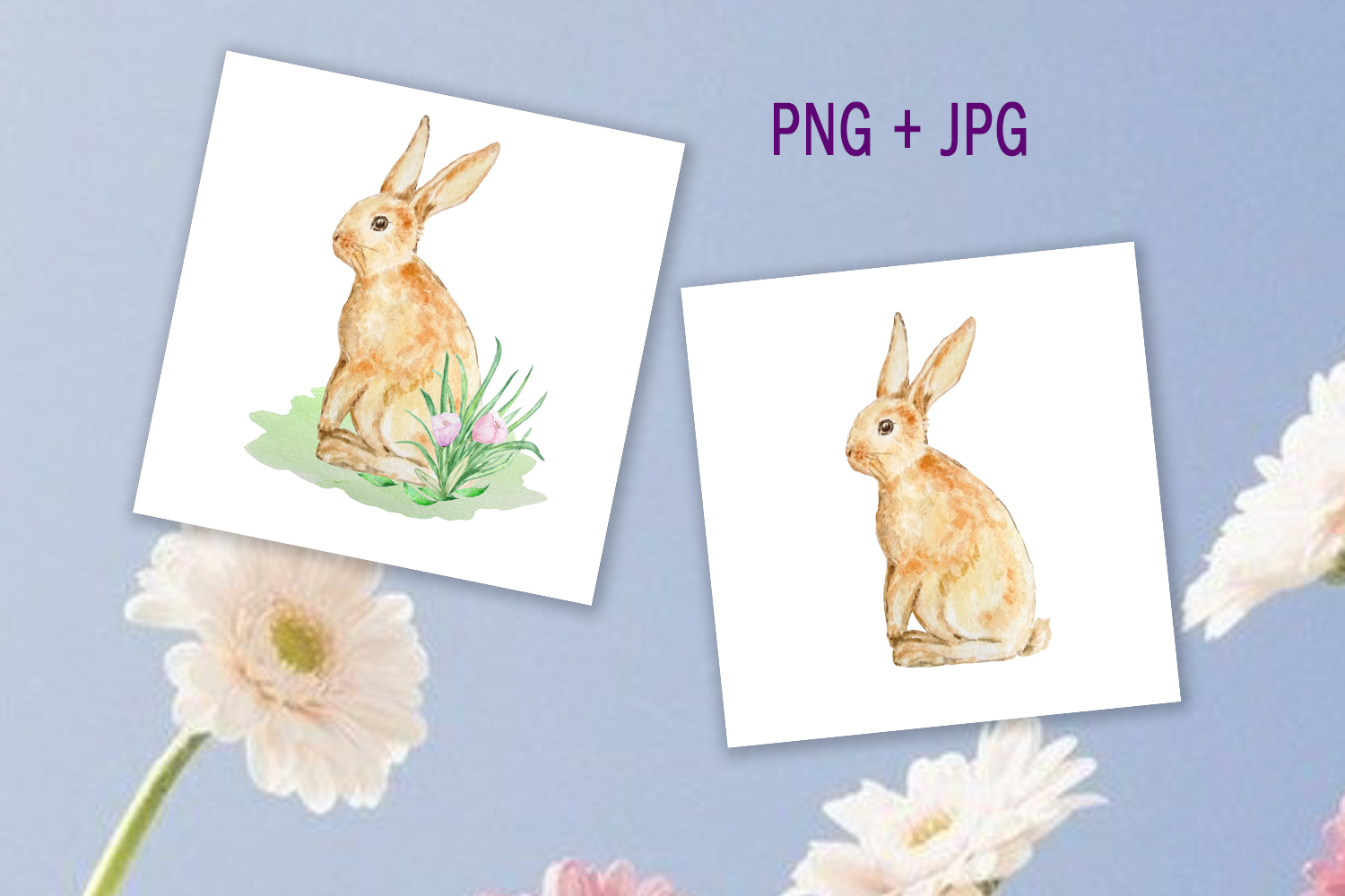 Watercolor Spring Rabbit Clipart Set example image 6