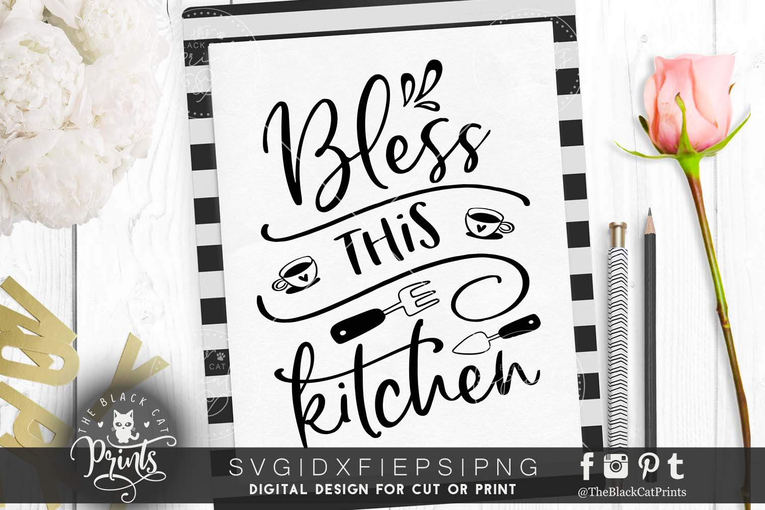 Bless This Kitchen SVG DXF PNG EPS example image 1