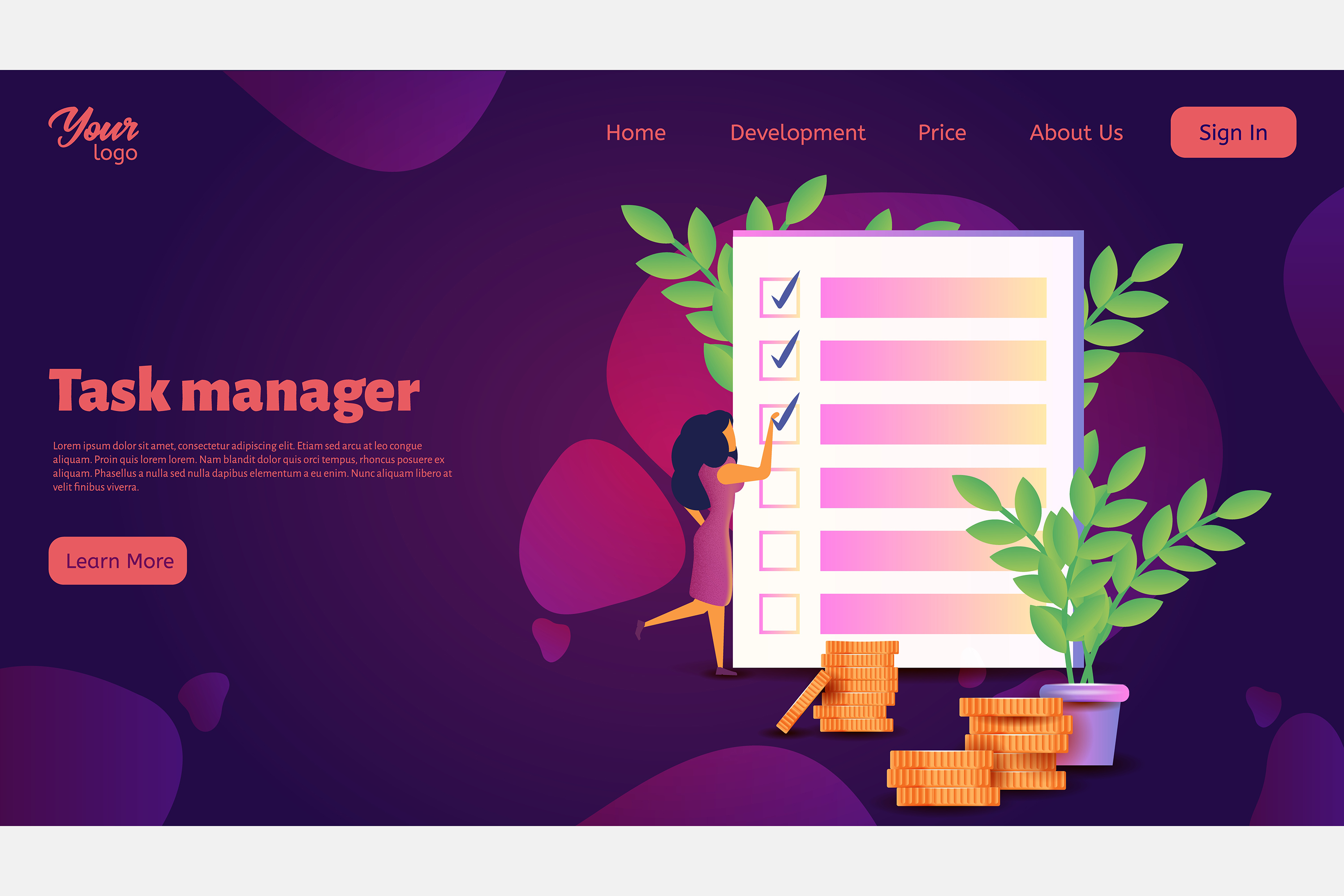 Time management. Landing page headers example image 5