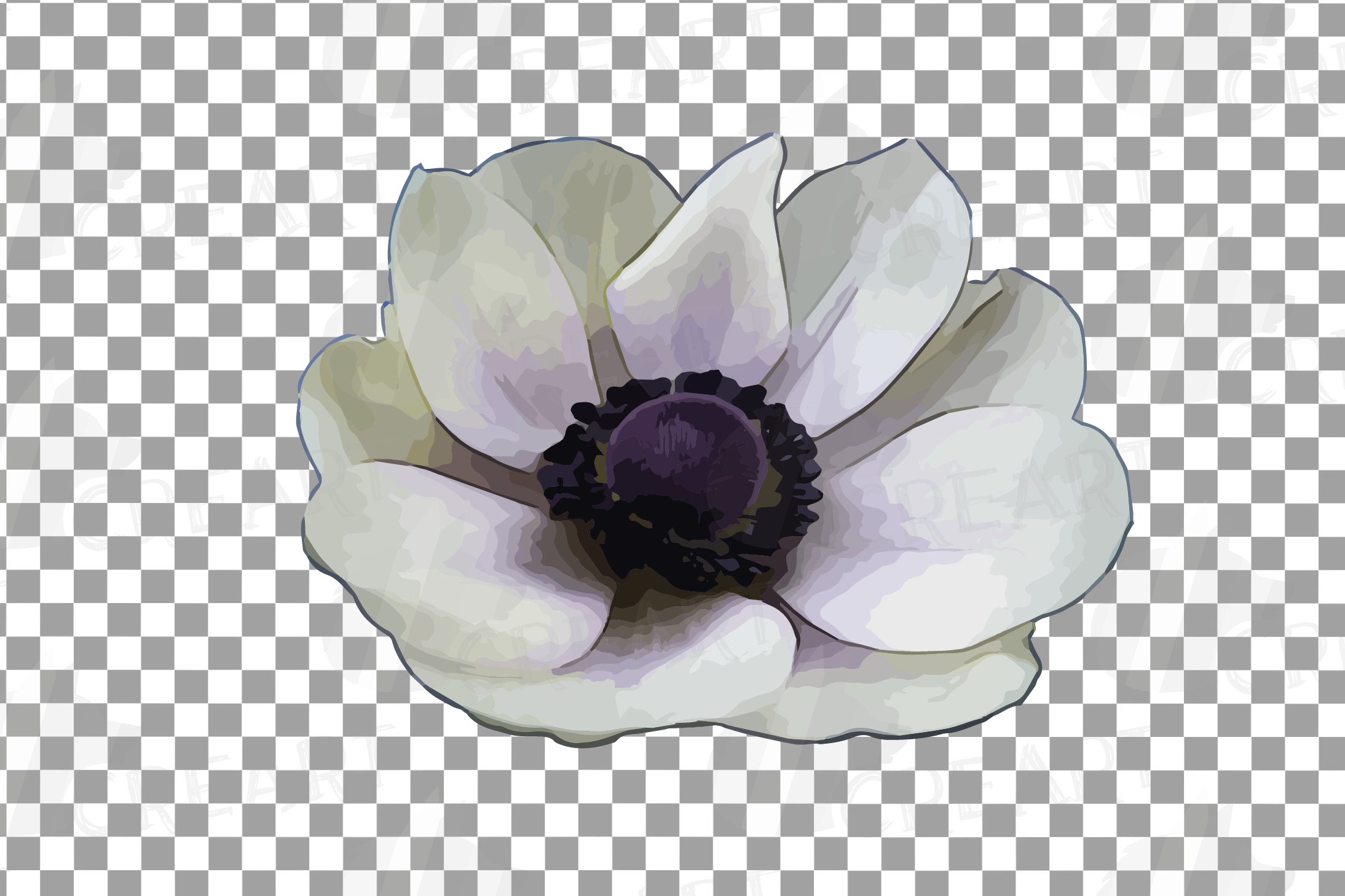 Anemone watercolor clip art pack, watercolor anemone design example image 9