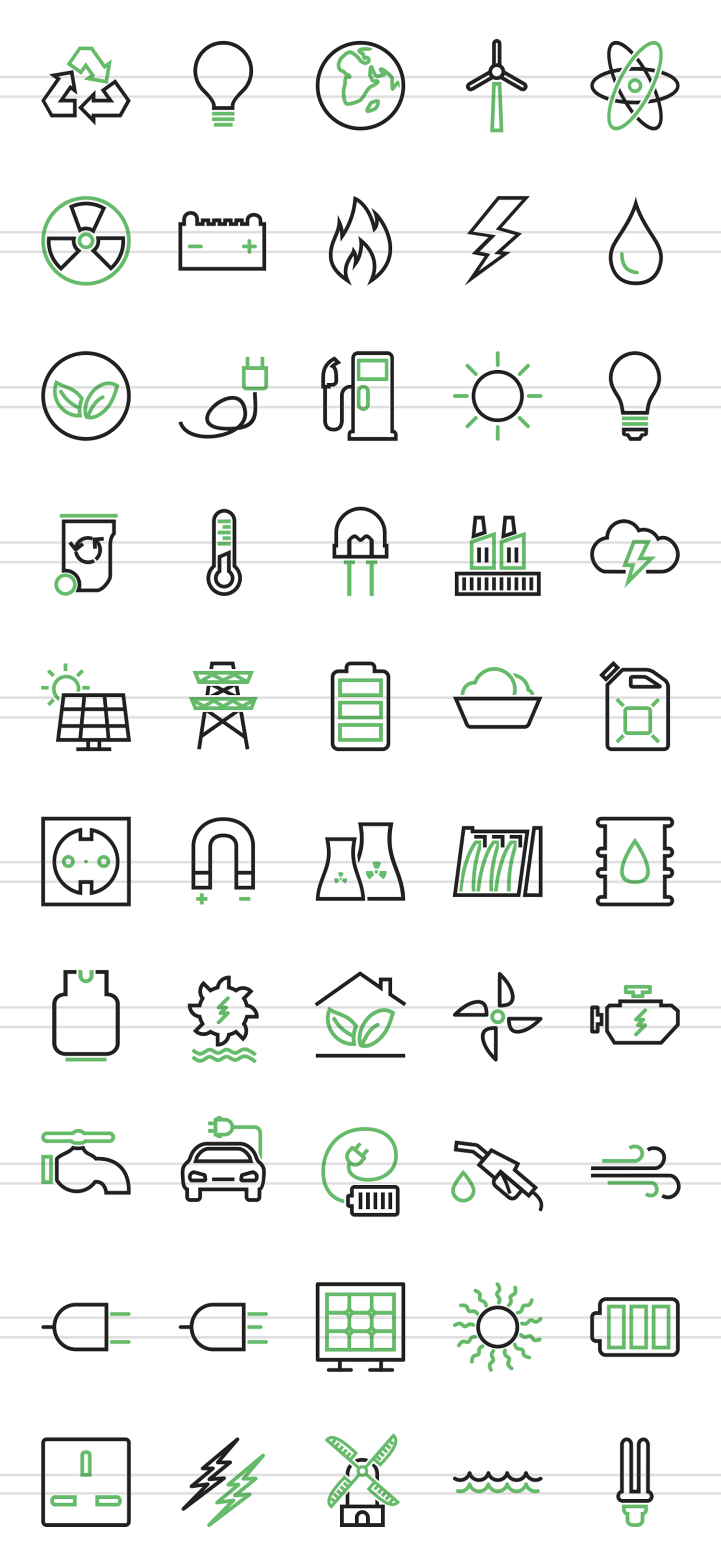 50 Energy Line Green & Black Icons example image 2