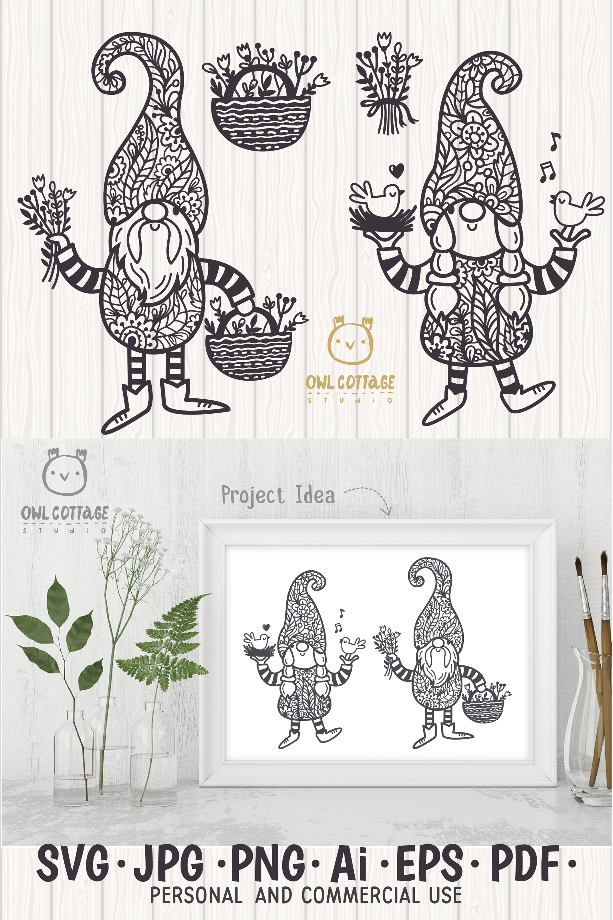 Spring Floral Gnomes SVG, Mr. and Mrs Gnomes, Tomte example image 13