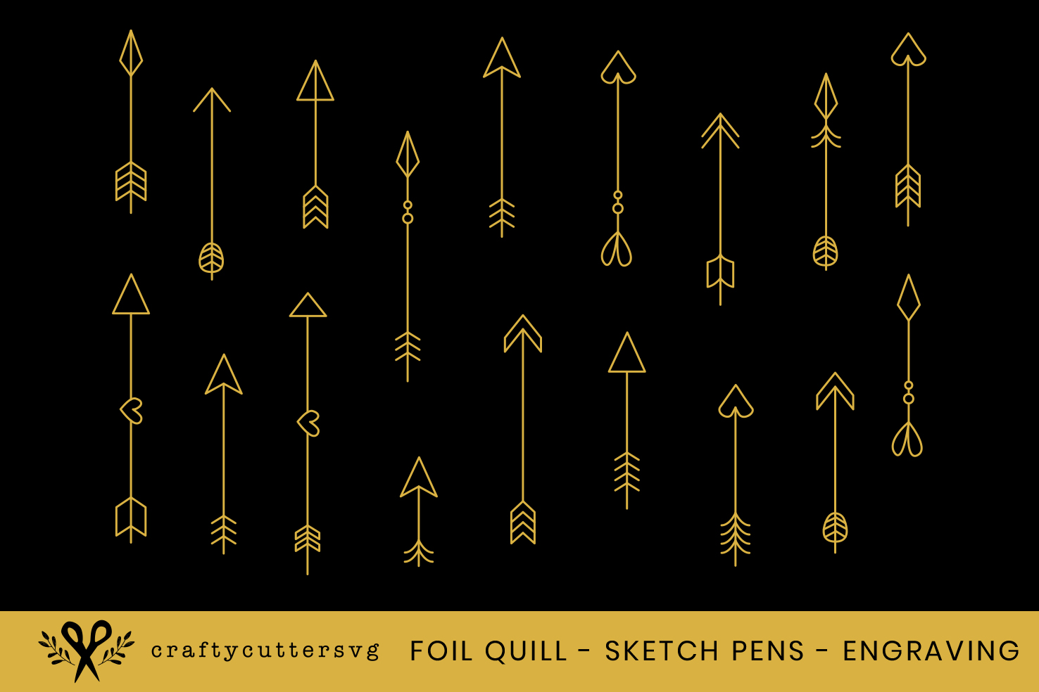 Foil Quill Arrows Embossing Sketch Pens Engraving Arrow example image 1