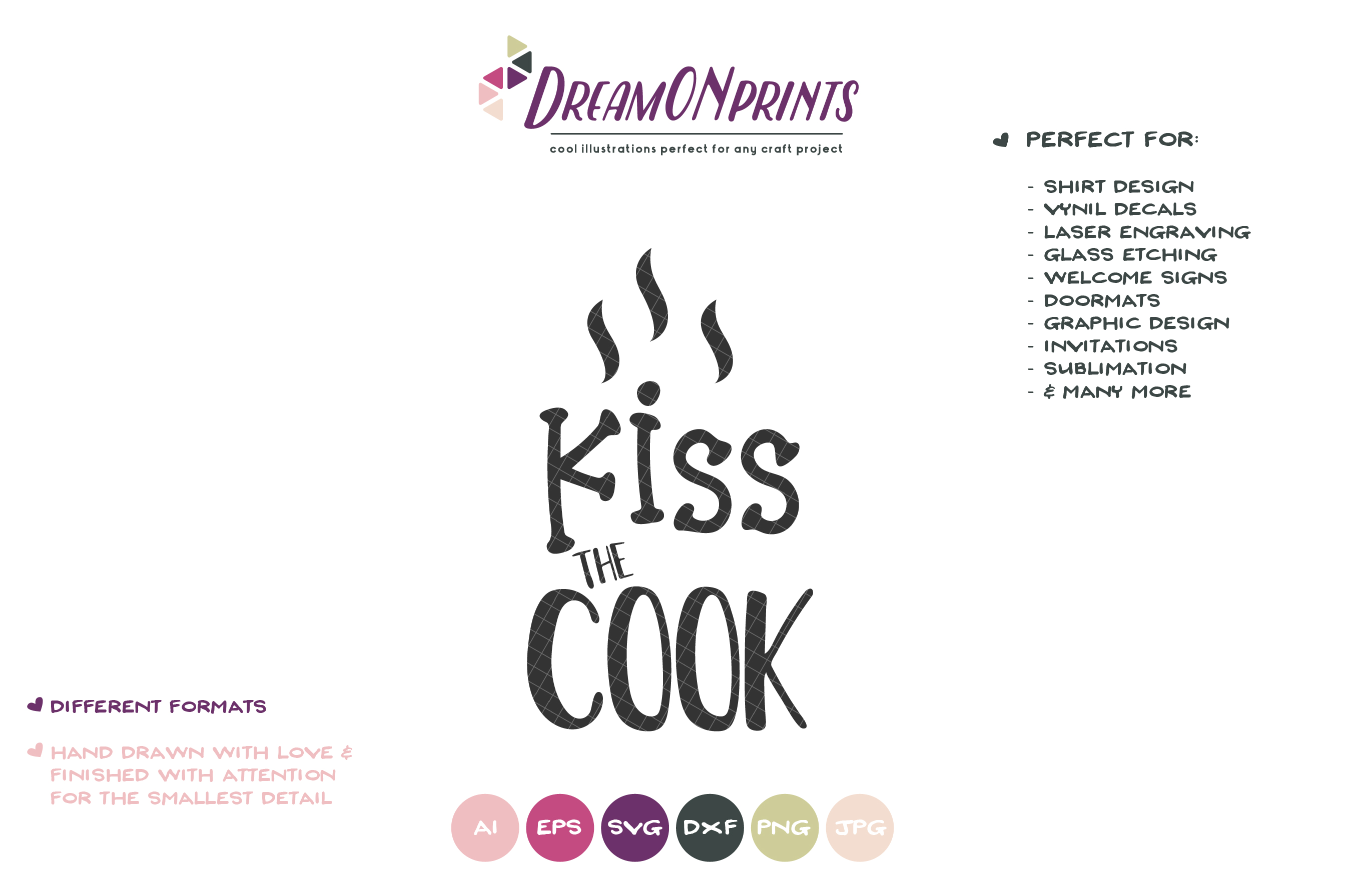 Kiss the Cook | Funny Kitchen Sign SVG example image 2