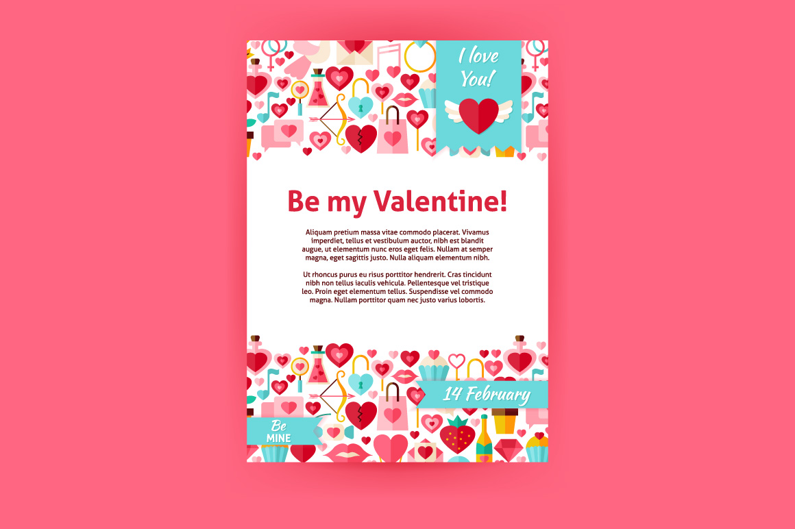 Valentine Day Vector Flat Posters example image 3