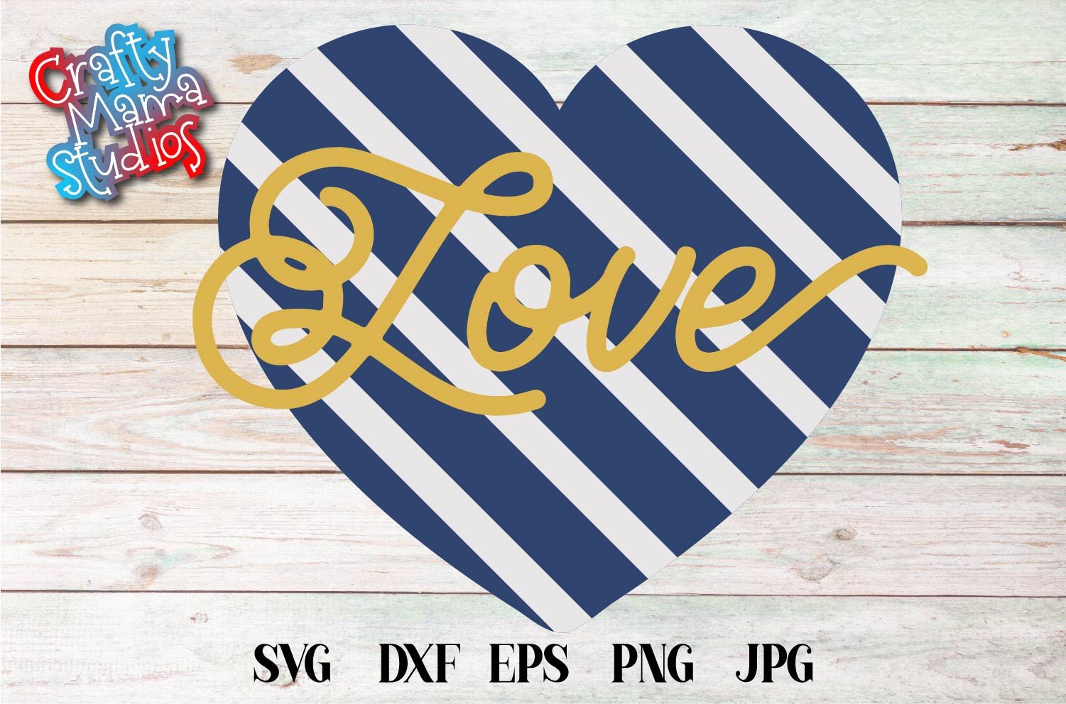 Valentine's Day SVG Love Navy Stripe Heart Sublimation example image 2