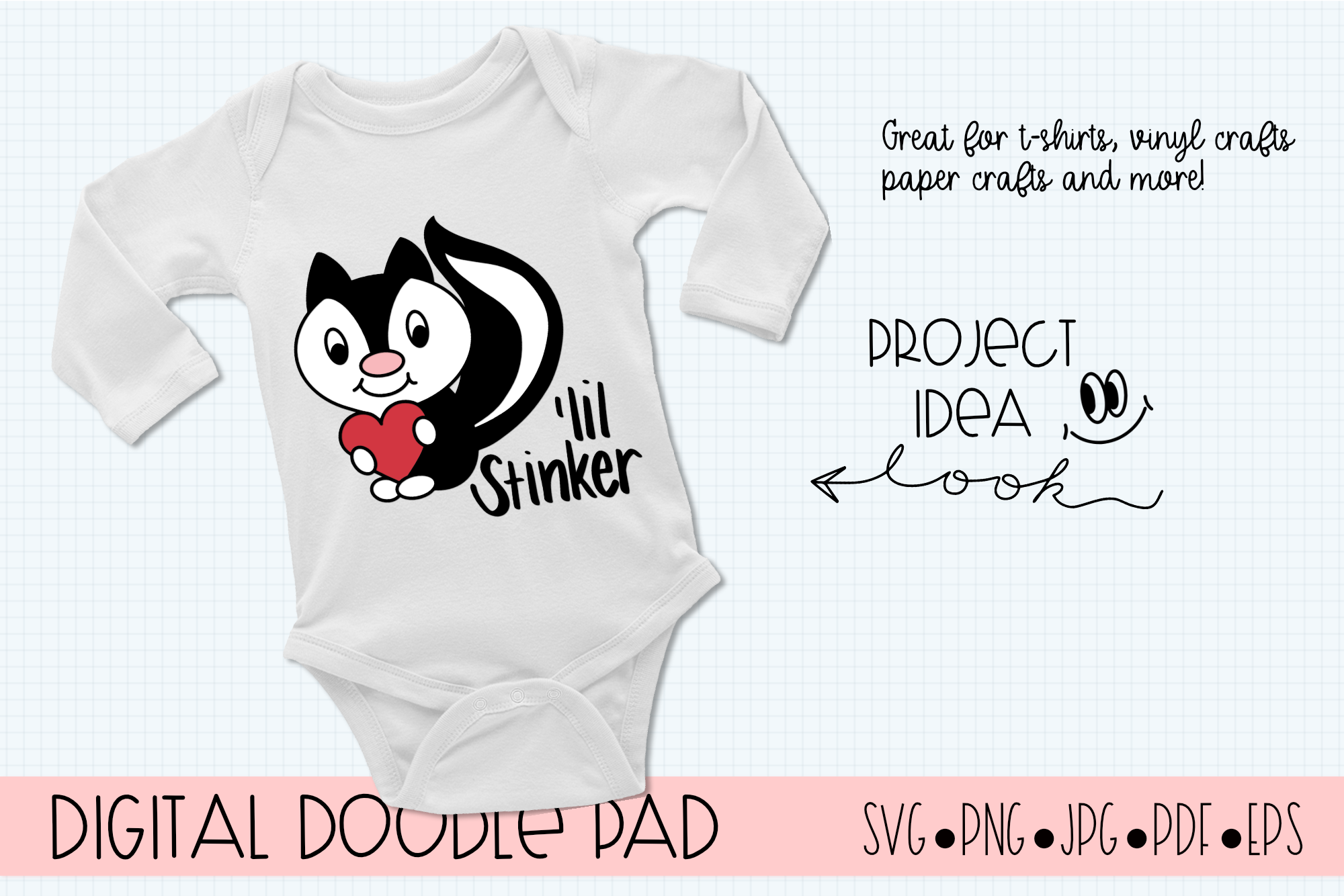 'lil Stinker Skunk SVG, Silhouette and Cricut Cut Files example image 2