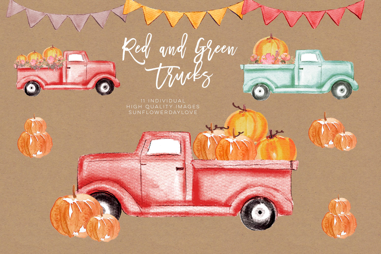 Pumpkin truck clipart, Watercolor Red Truck Pumpkins example image 2