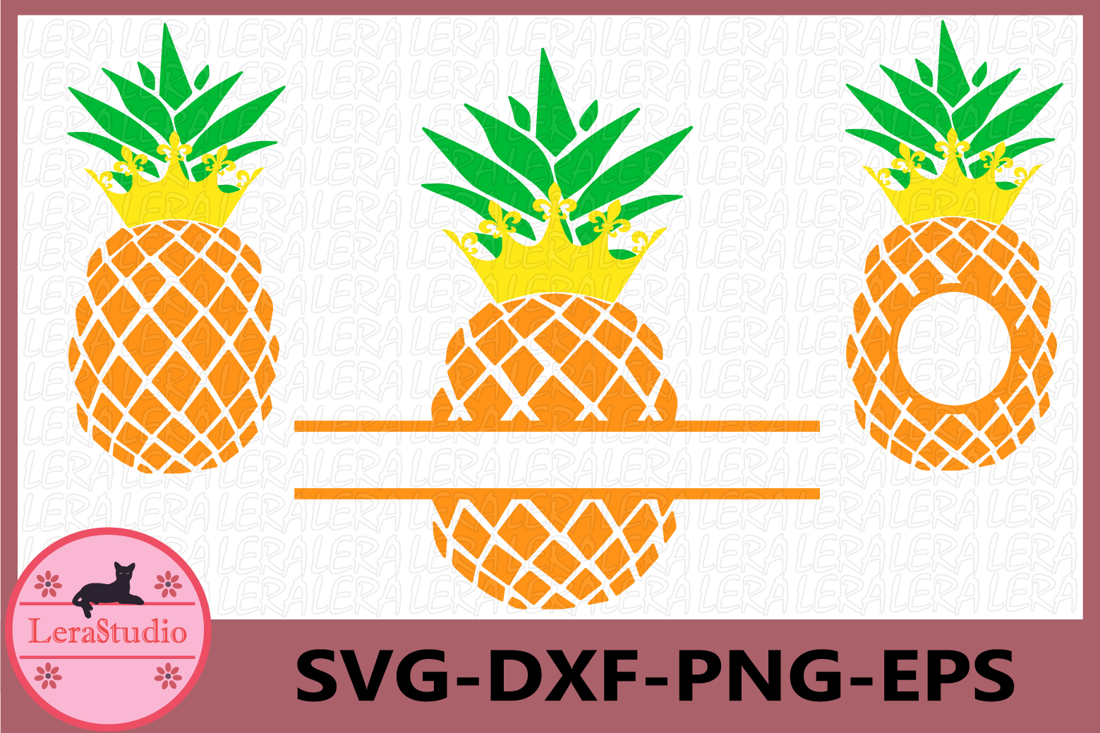 Pineapple with Crown Svg, Pineapples SVG, Crown, Monogram example image 1