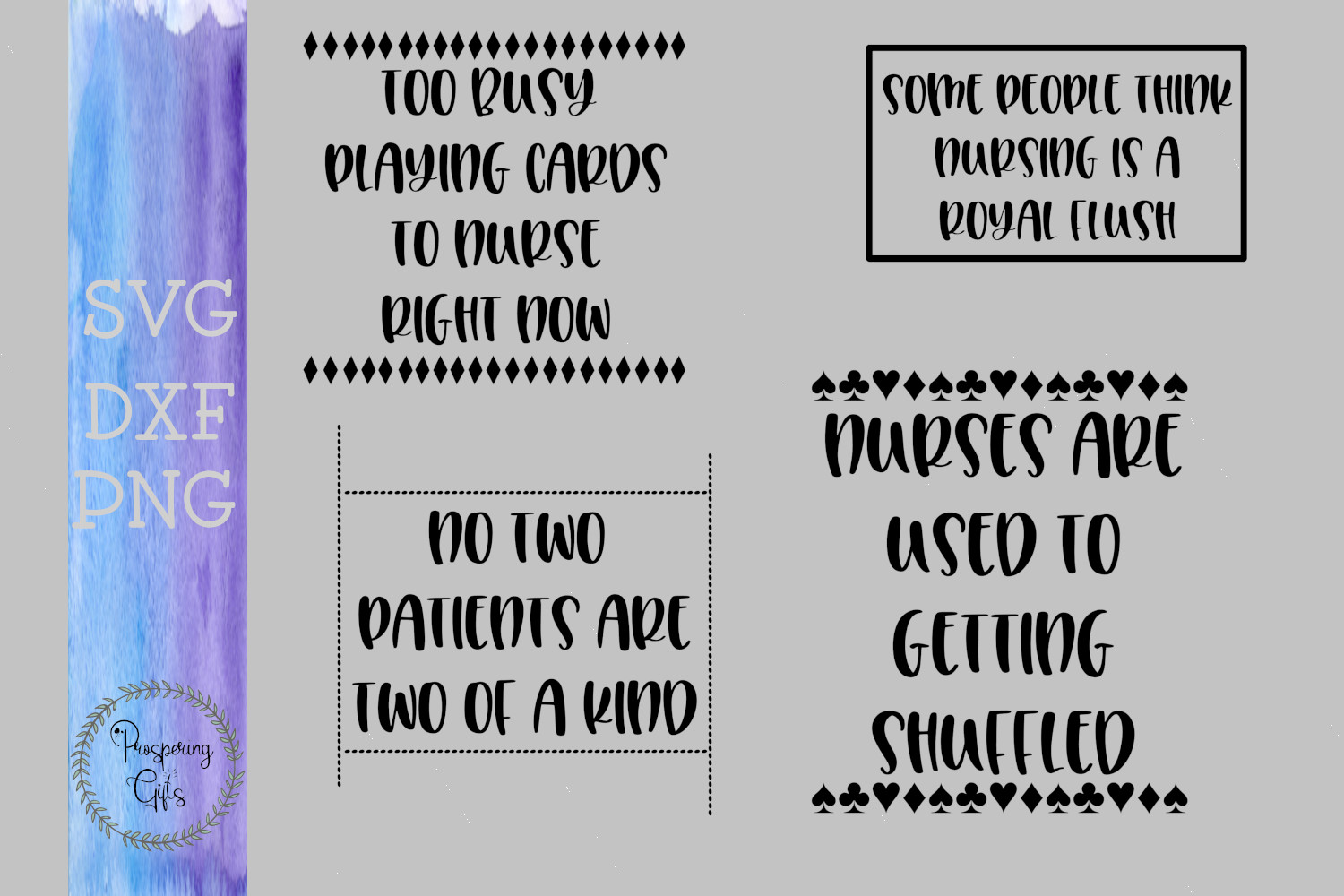 Too Busy Playing Cards Nursing Bundle SVG DXF PNG example image 1