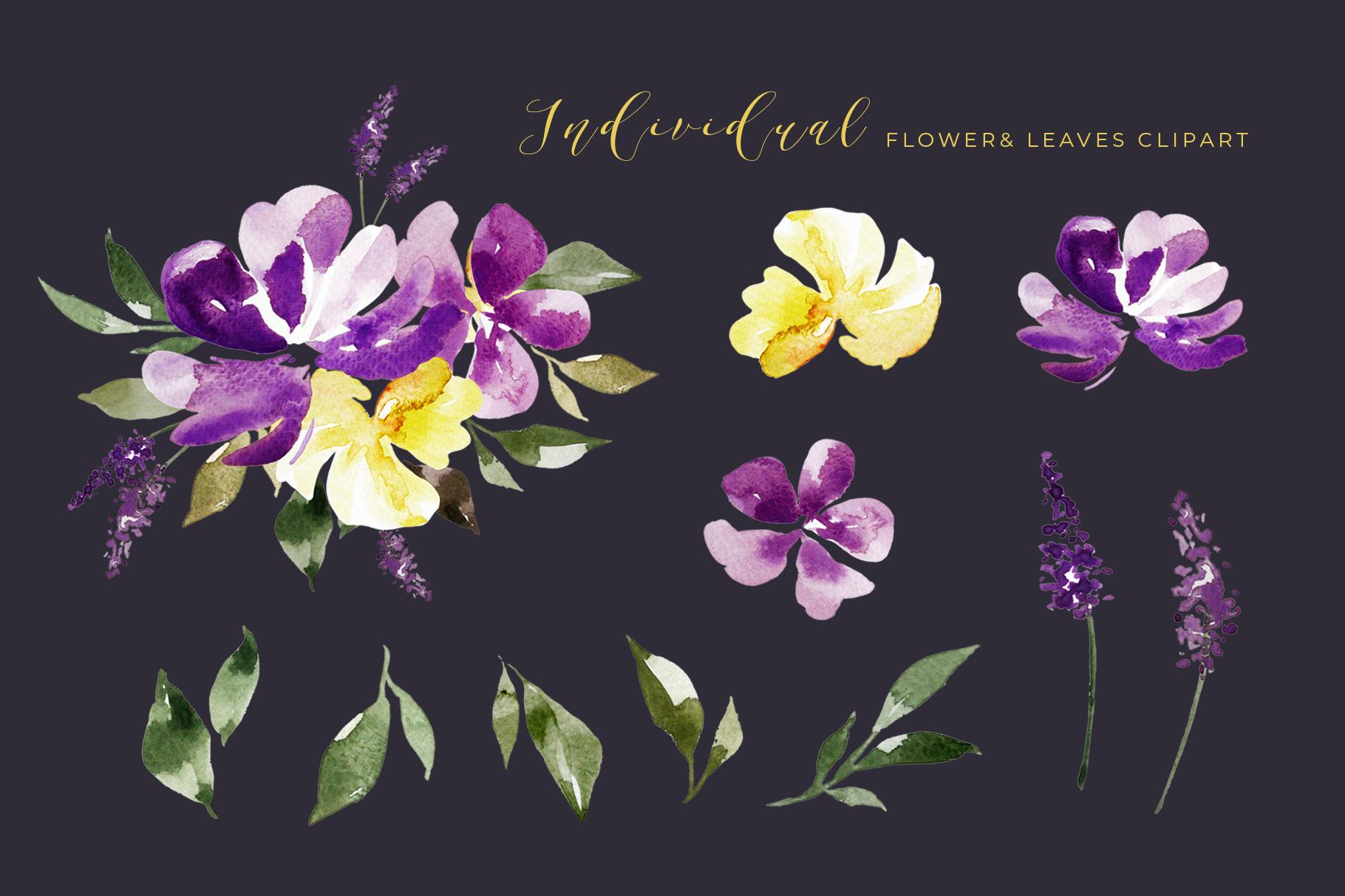 Watercolor Purple Lavender Plum Floral Clipart example image 2