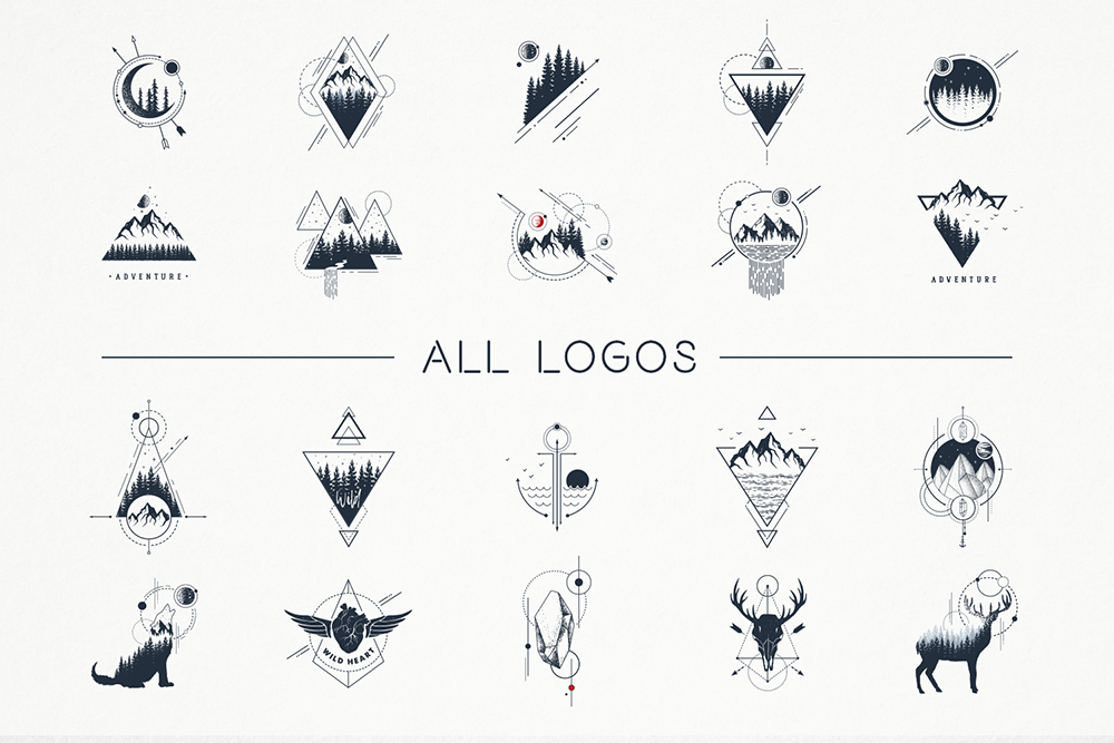 Geometric Nature. 20 Greative Logos in AI, EPS, PNG and SVG example image 7