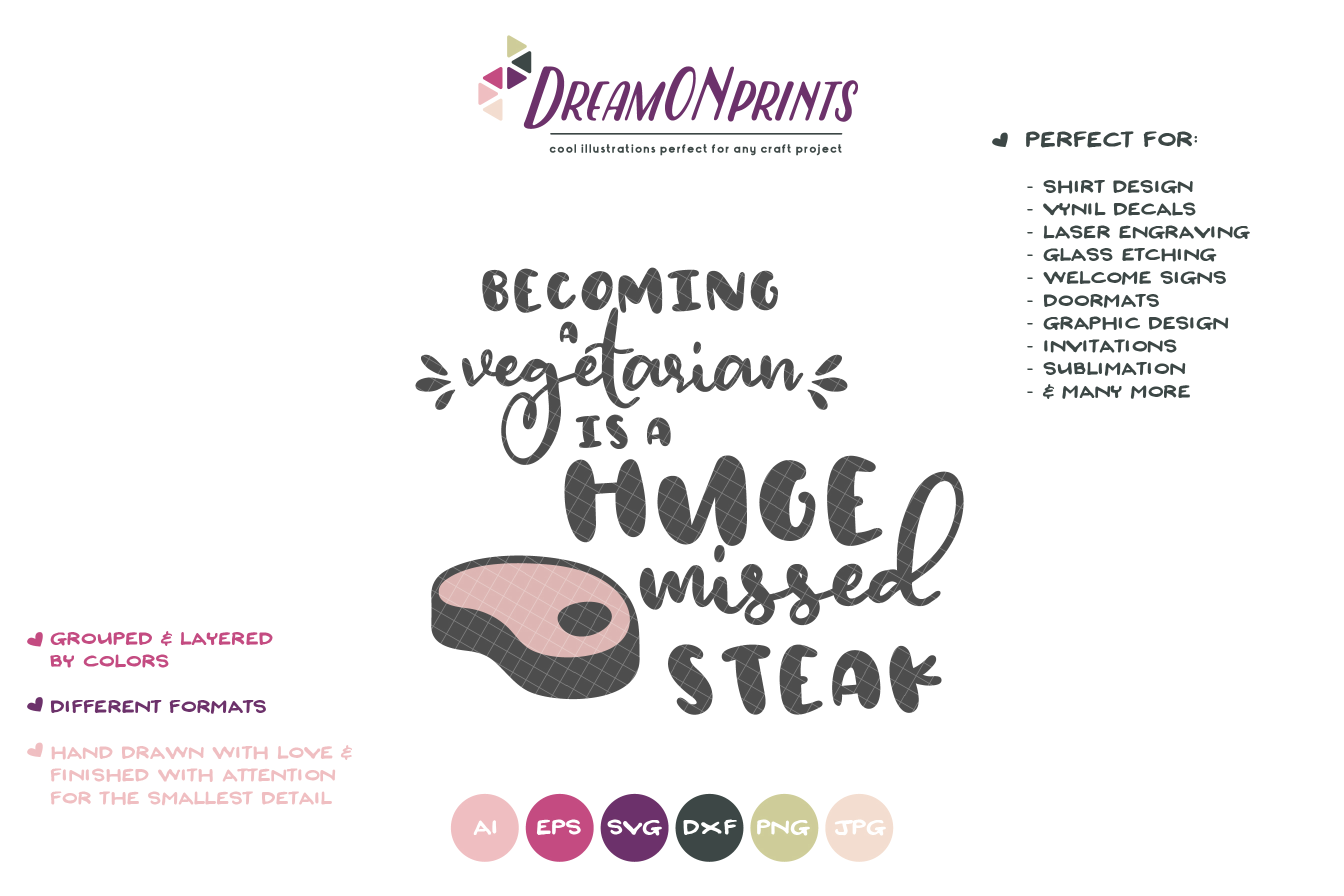 Funny Vegetarian SVG | Huge Missed Steak| Kitchen Sign example image 2