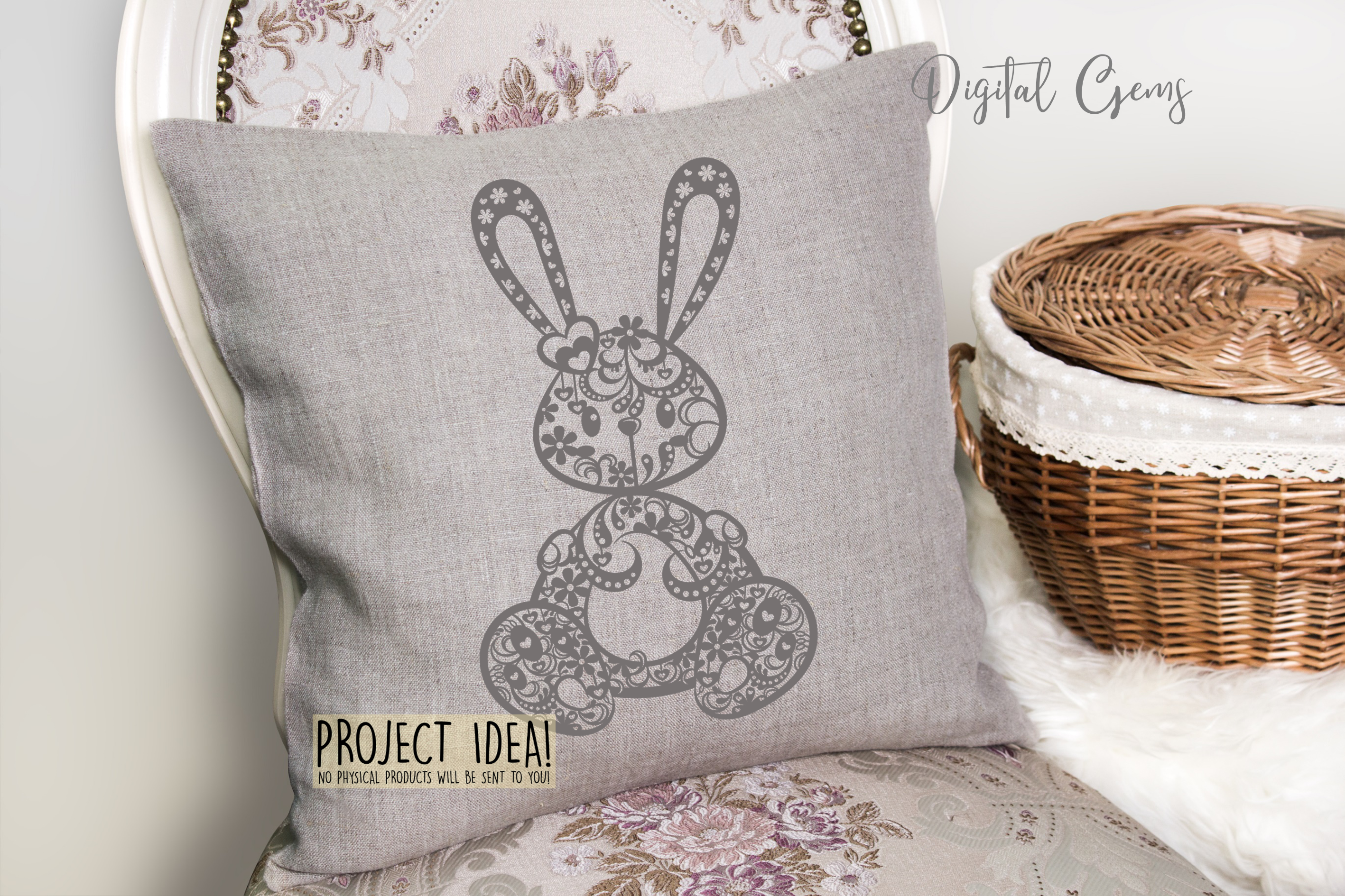 Rabbit paper cut design. SVG / DXF / EPS / PNG files example image 8