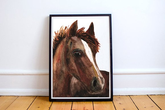Watercolor Clip Art & Print - Horse example image 1