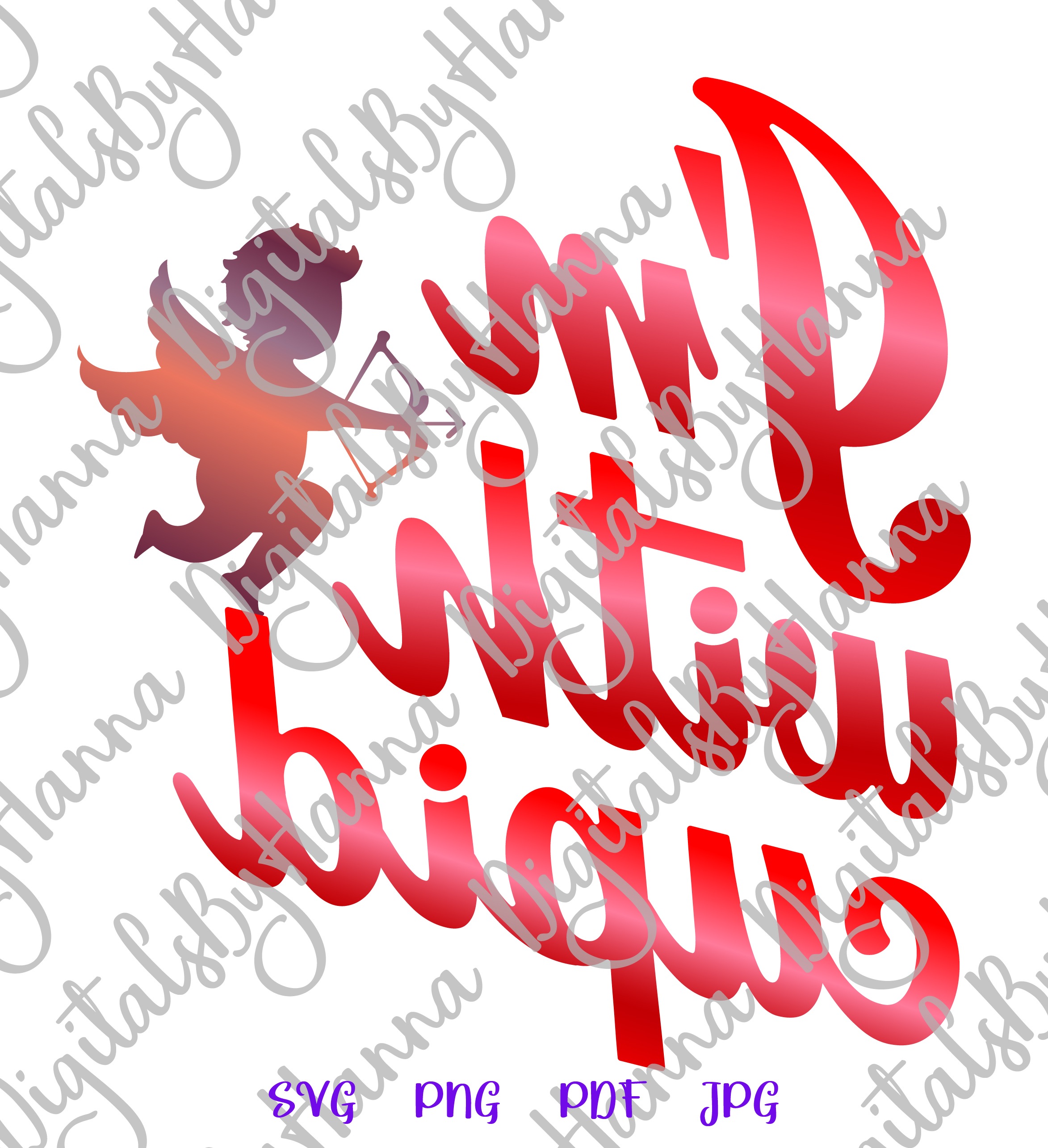 I'm With Cupid Valentine's DayFunny Sign Print & Cut PNG SVG example image 3