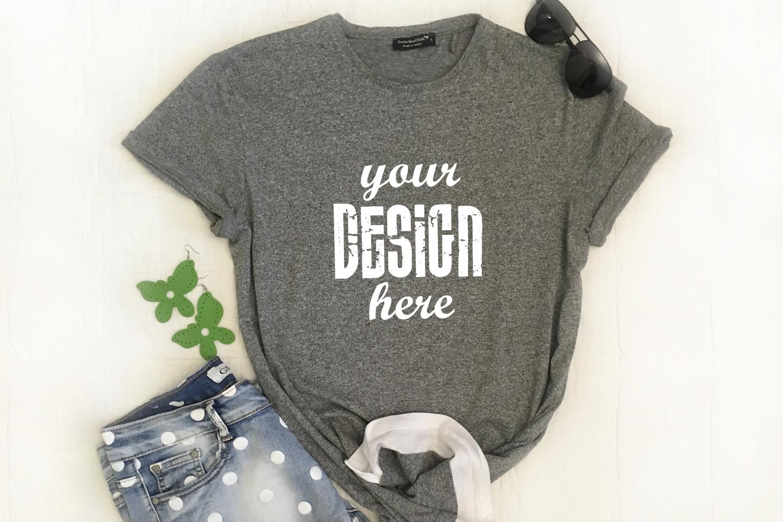 Gray shirt mockup Apparel Mockup Leaves jeans example image 1