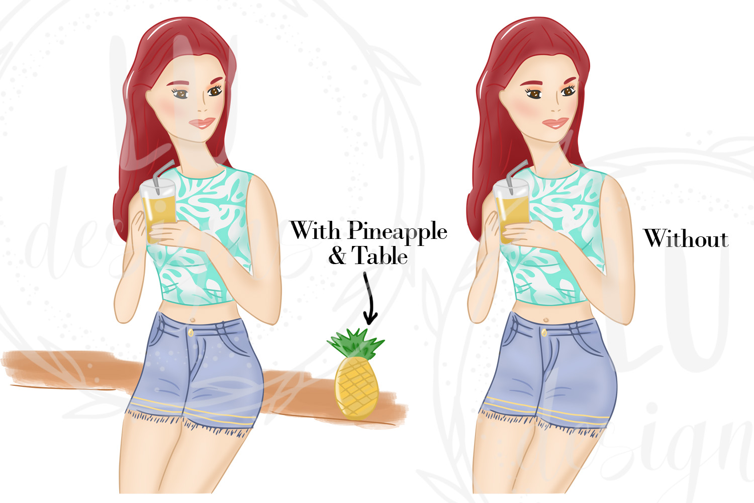 Summer Girls Clipart, Beach Clipart, Girl Illustrations example image 3