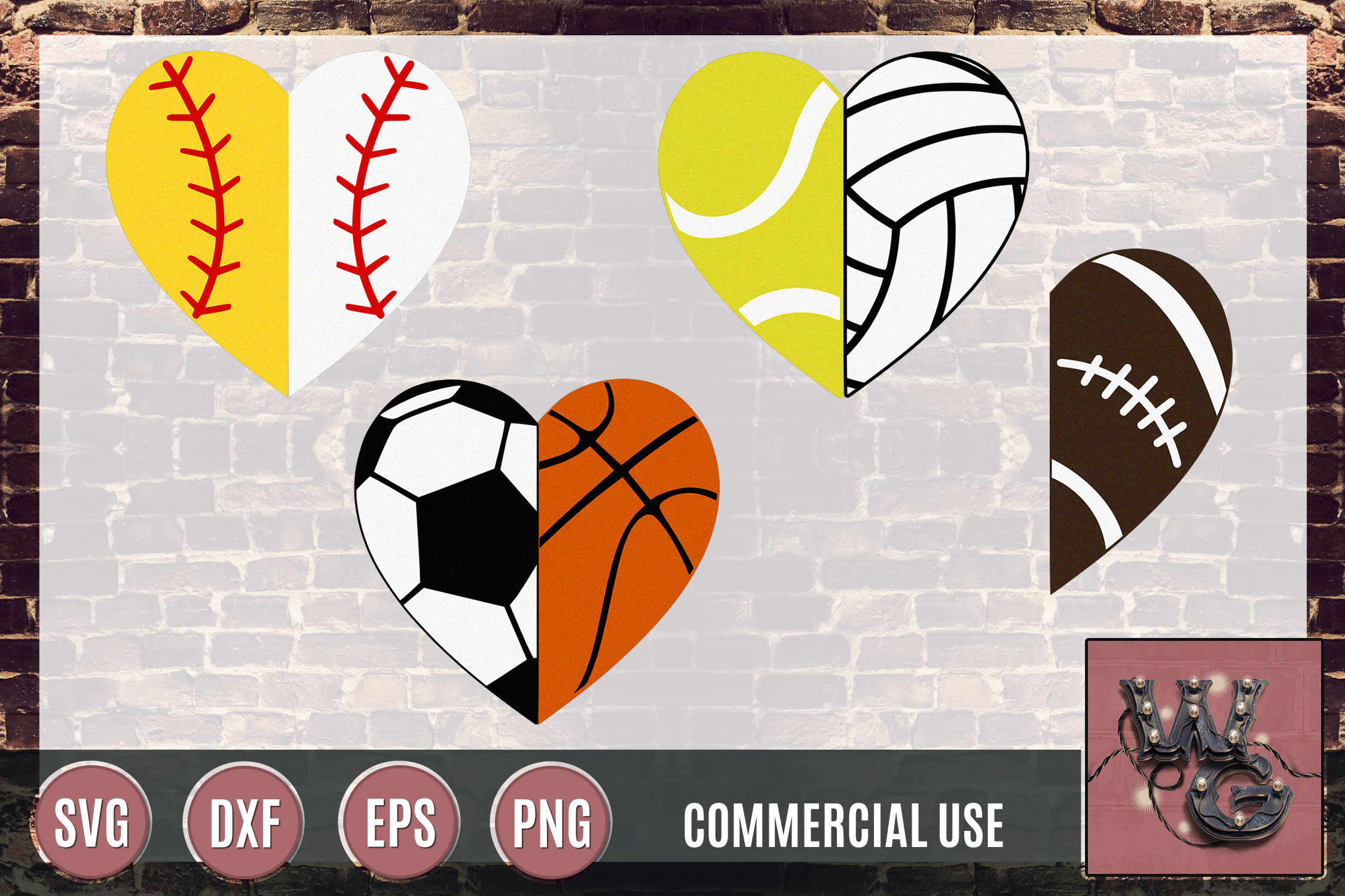 Sports Hearts Divided SVG DXF PNG EPS Commercial example image 1