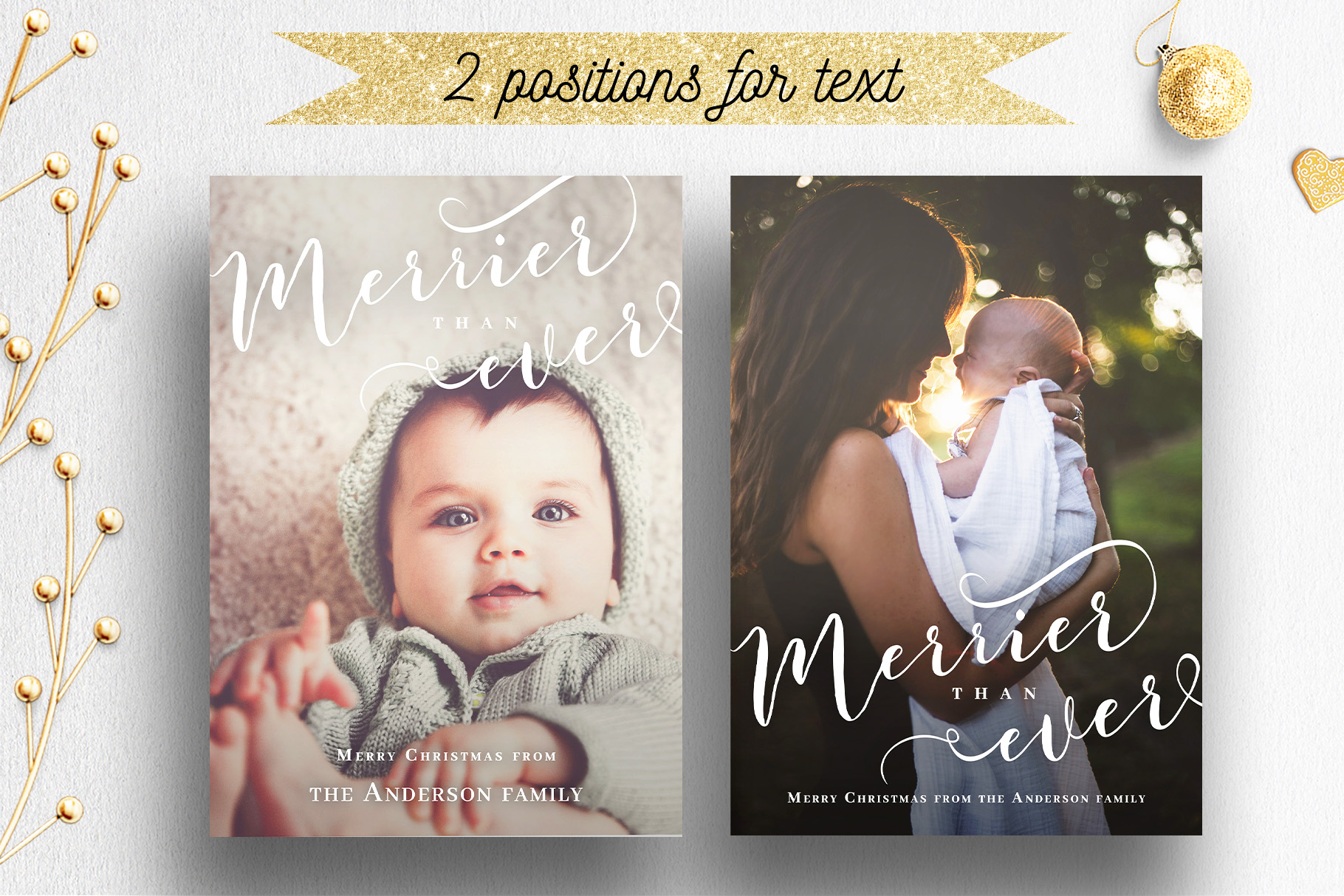 Newlywed Newborn Christmas Photo Card Template | 010