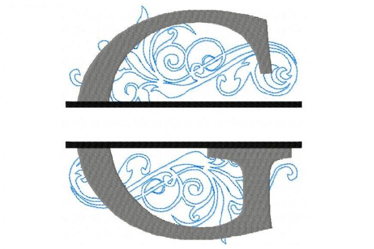 Embroidery Fonts Split Monogram, Monogram G, 4X4 5X7 6x10 example image 1