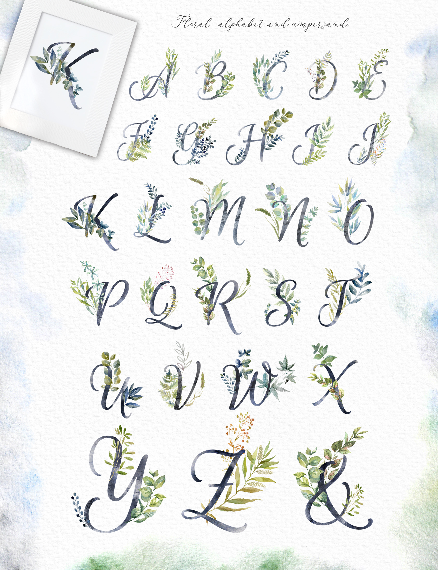 Floral Alphabets Collection. example image 2