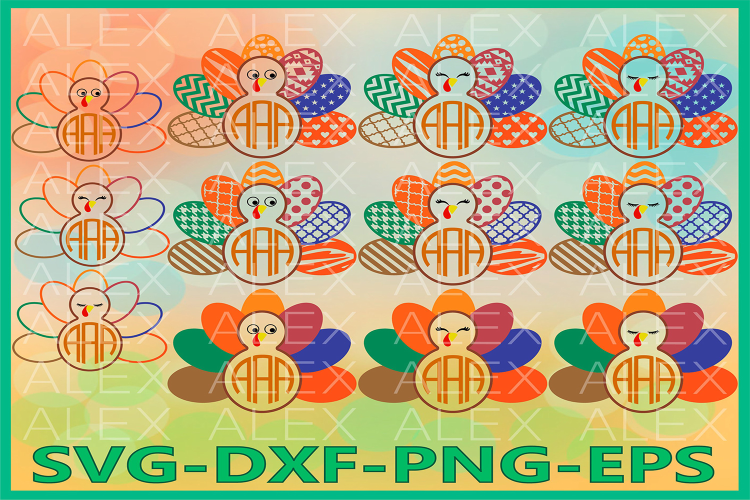 Turkey SVG, Thanksgiving Monogram svg, Turkey Clipart example image 1