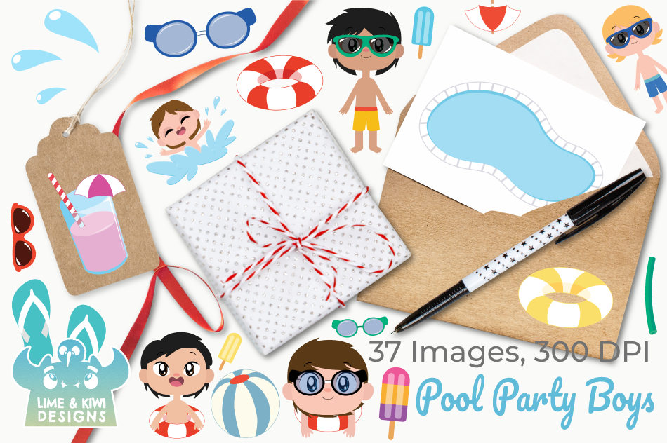Pool Party Boys Clipart, Instant Download Vector Art example image 4