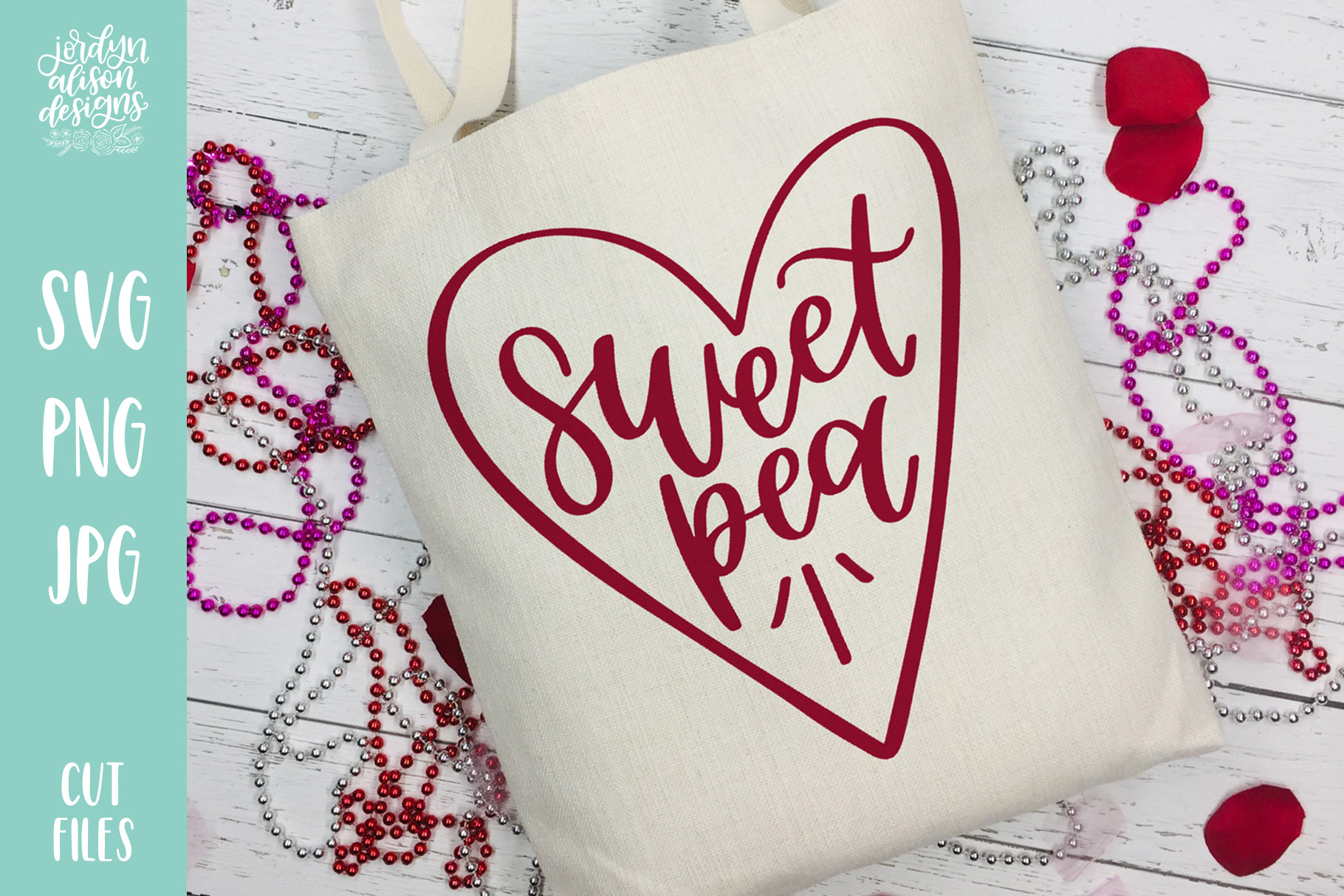 Sweet Pea, Valentine's Baby SVG Cut File example image 2