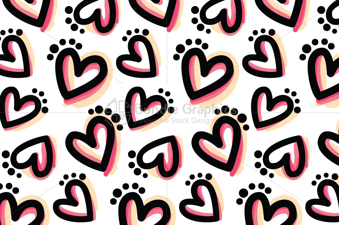 Bold Hearts - Freehand Organic Shapes Seamless Background example image 1