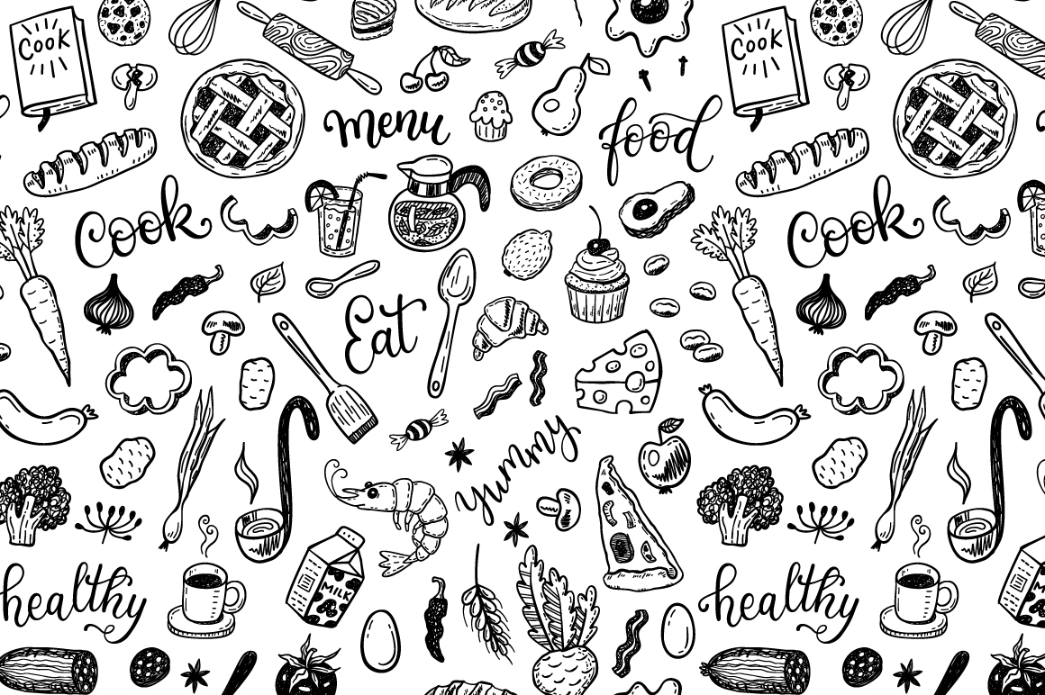 Food dooles set + patterns example image 3