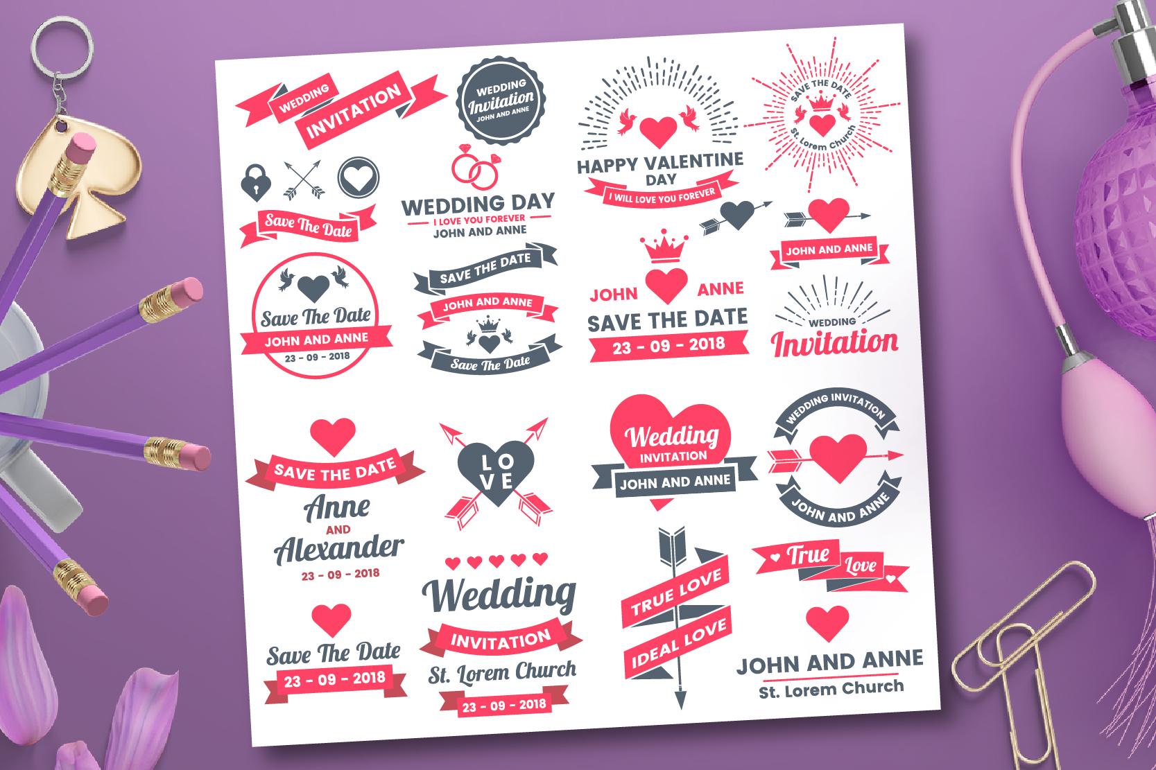 43 WEDDING VINTAGE BADGE & RIBBON example image 6