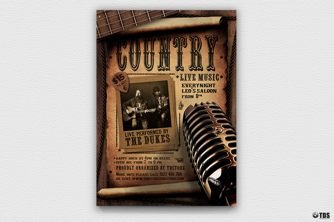 Country Live Flyer Template V5 example image 2