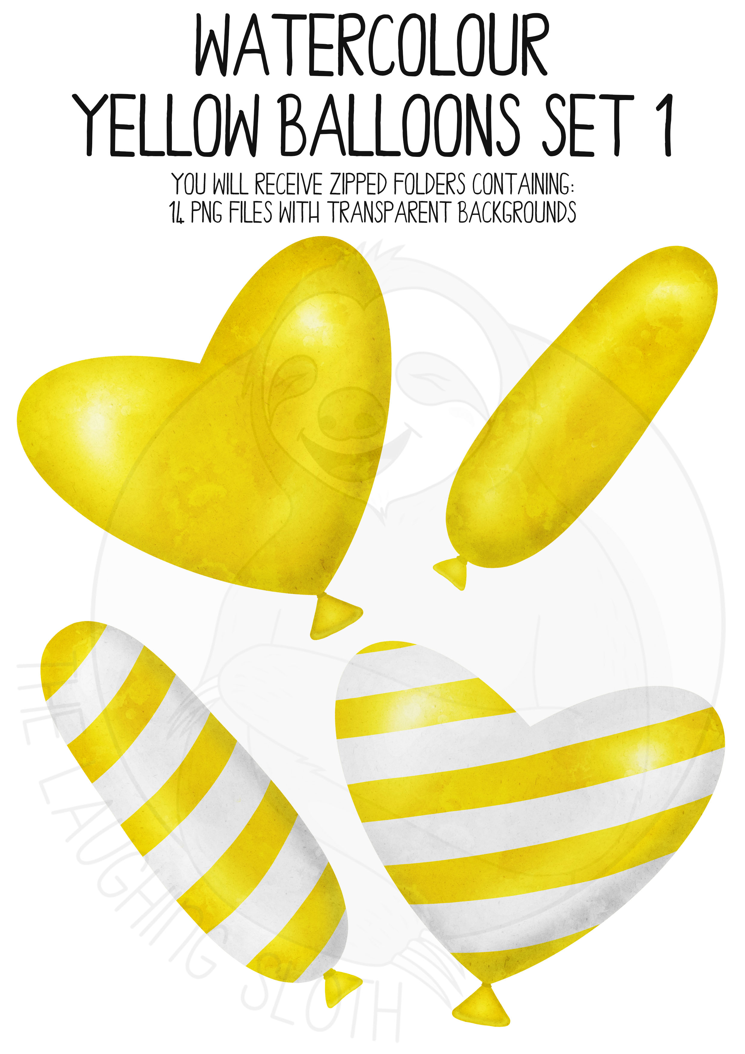 Yellow Watercolor Balloon Clipart Set example image 2