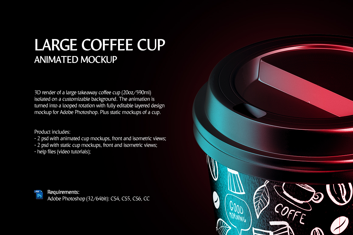 Large Coffee Cup Animated Mockup example image 2