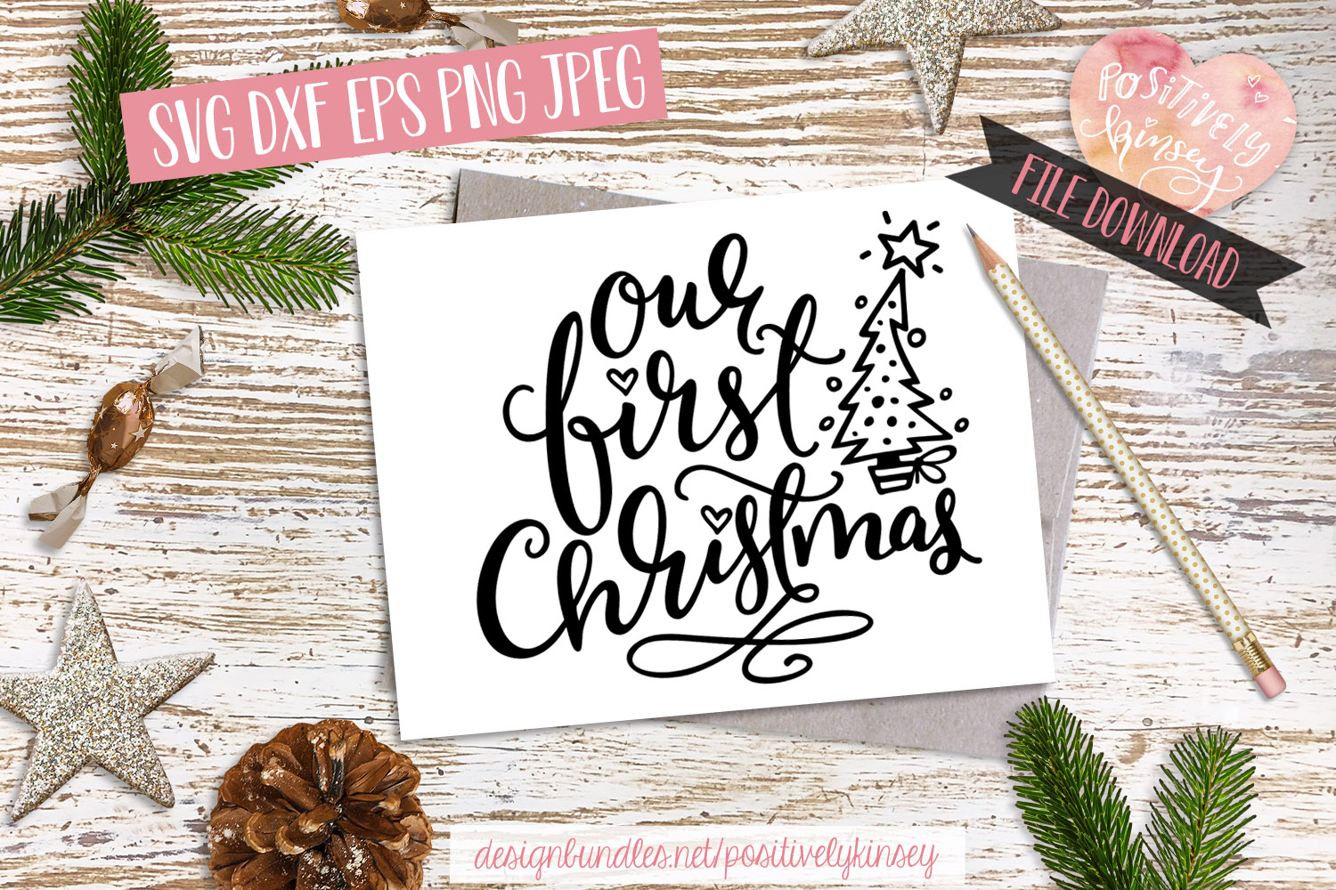 Our First Christmas SVG DXF PNG EPS Family Christmas Quote example image 1