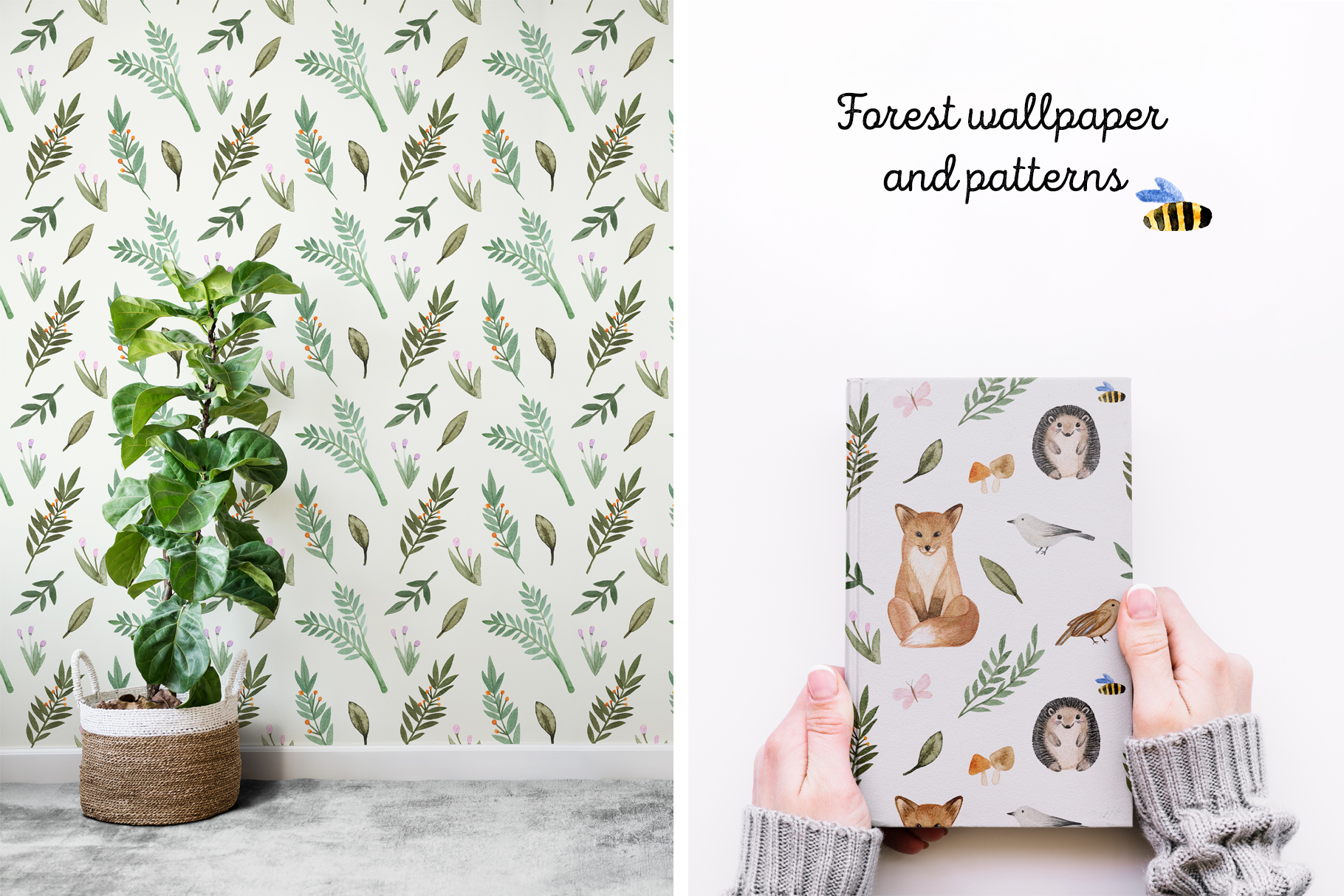 Woodland Animals. Patterns, Cliparts example image 5