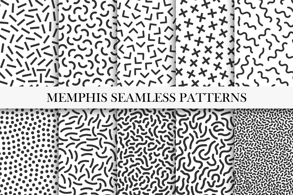 Memphis seamless patterns set - b&w. example image 6