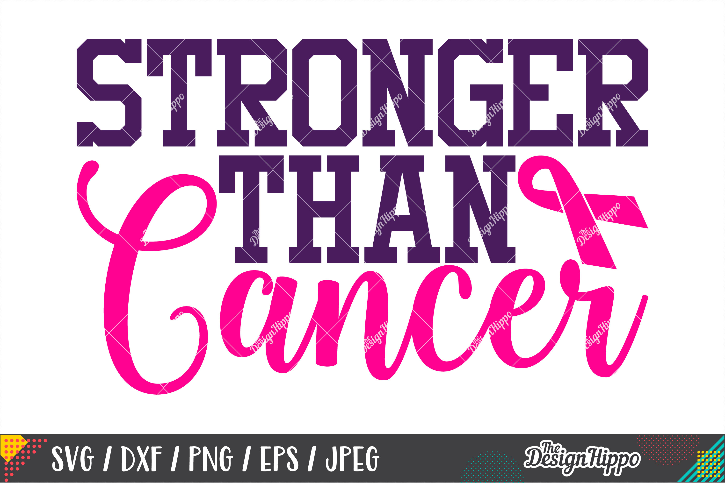 Stronger Than Cancer, Breast Cancer Motivational Quote SVG example image 1